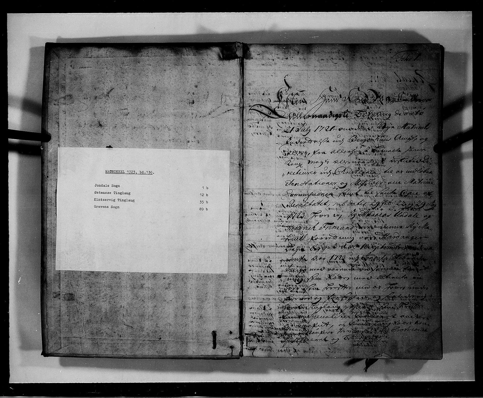 RA, Rentekammeret inntil 1814, Realistisk ordnet avdeling, N/Nb/Nbf/L0136: Hardanger eksaminasjonsprotokoll, 1723, s. 1a