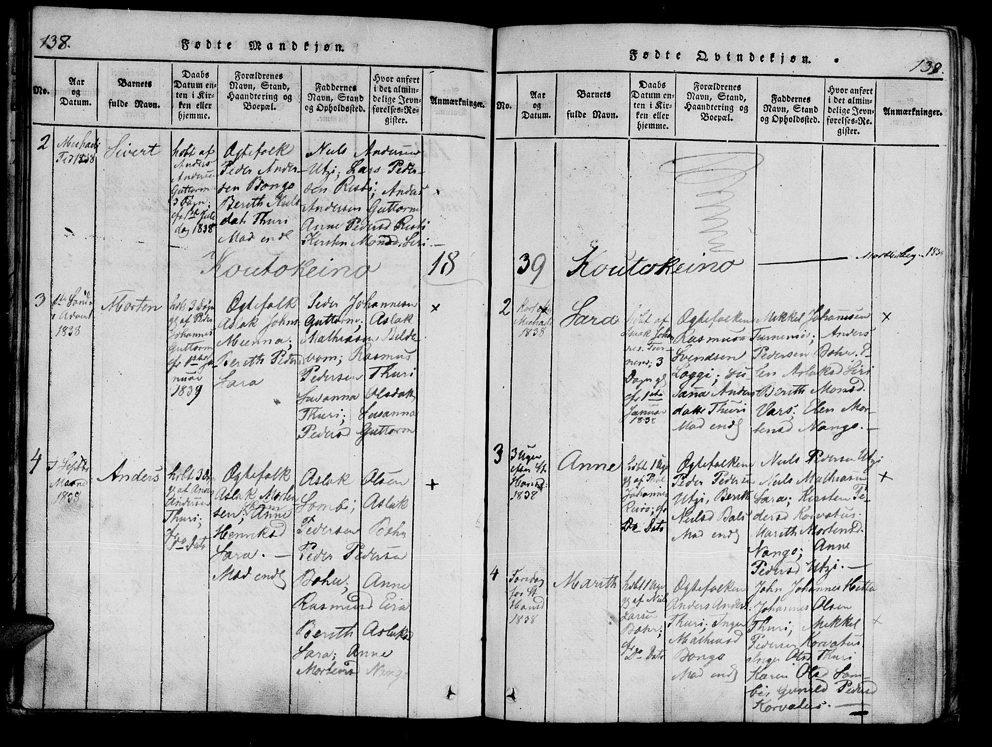 SATØ, Kistrand/Porsanger sokneprestembete, Ministerialbok nr. 10, 1821-1842, s. 138-139