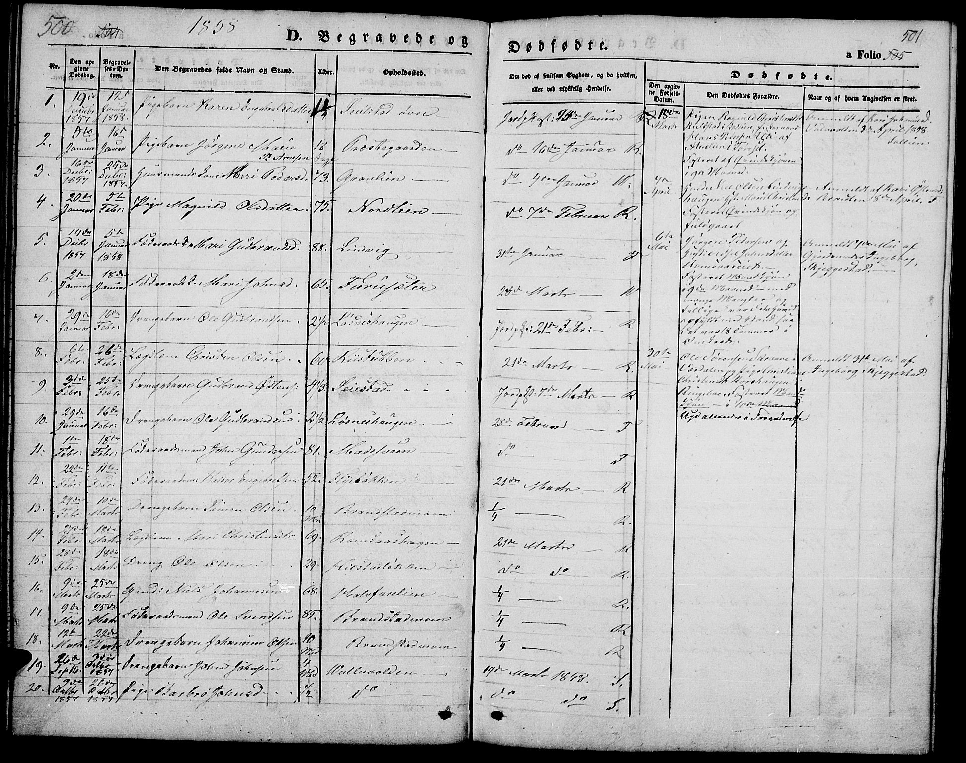 SAH, Ringebu prestekontor, Klokkerbok nr. 3, 1854-1866, s. 500-501