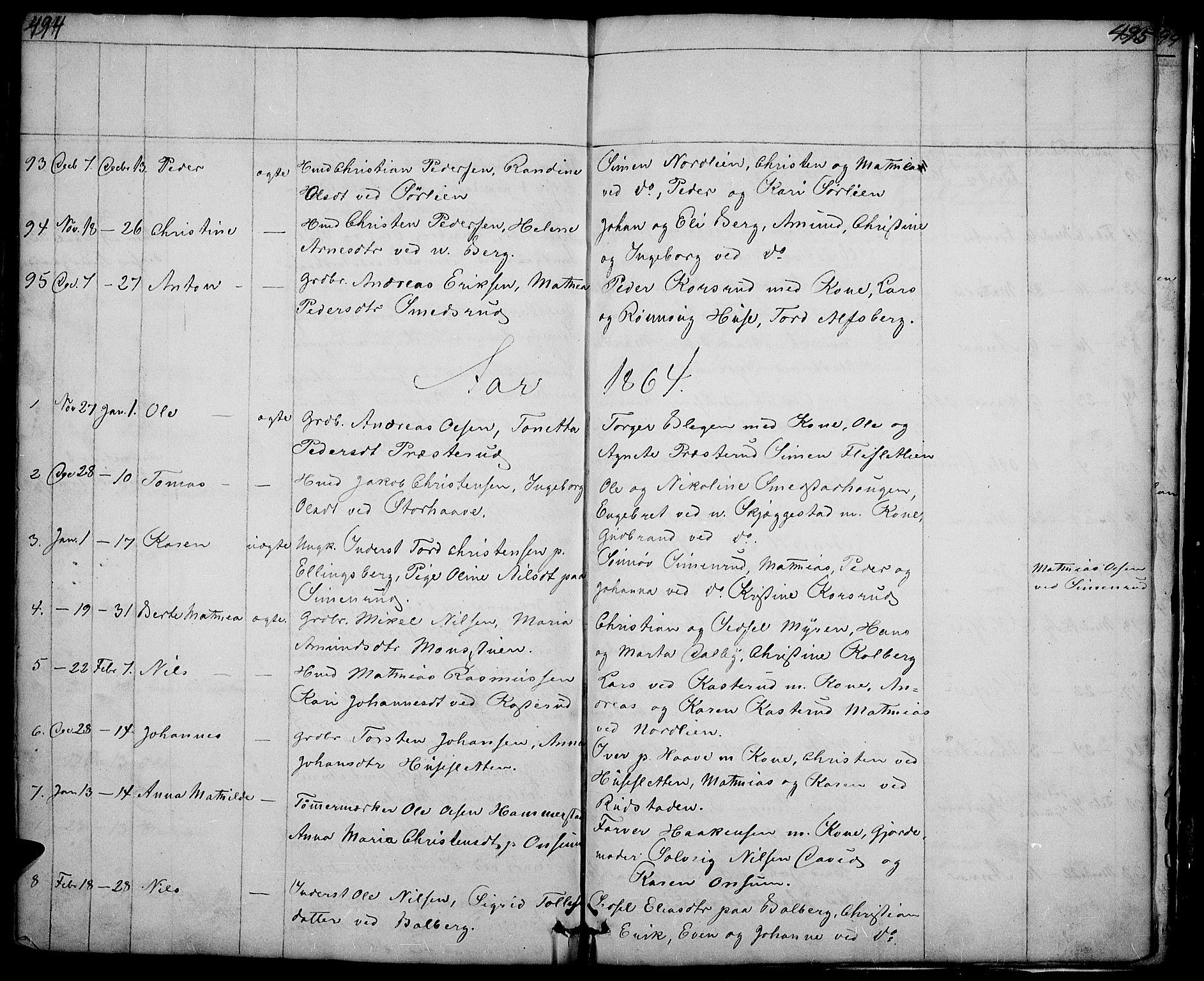 SAH, Fåberg prestekontor, H/Ha/Hab/L0005: Klokkerbok nr. 5, 1837-1864, s. 494-495