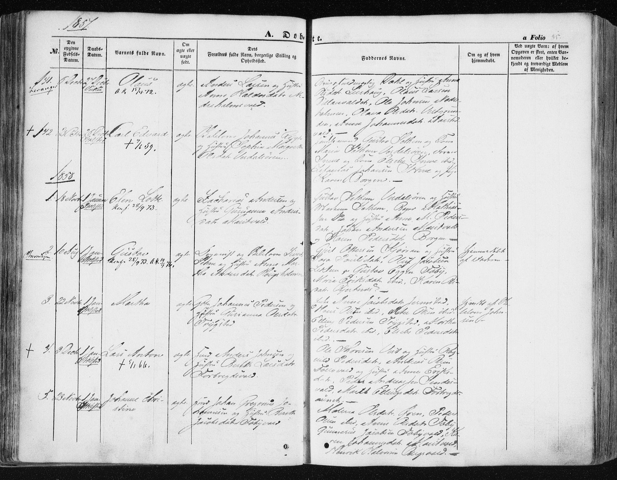 SAT, Ministerialprotokoller, klokkerbøker og fødselsregistre - Nord-Trøndelag, 723/L0240: Ministerialbok nr. 723A09, 1852-1860, s. 85