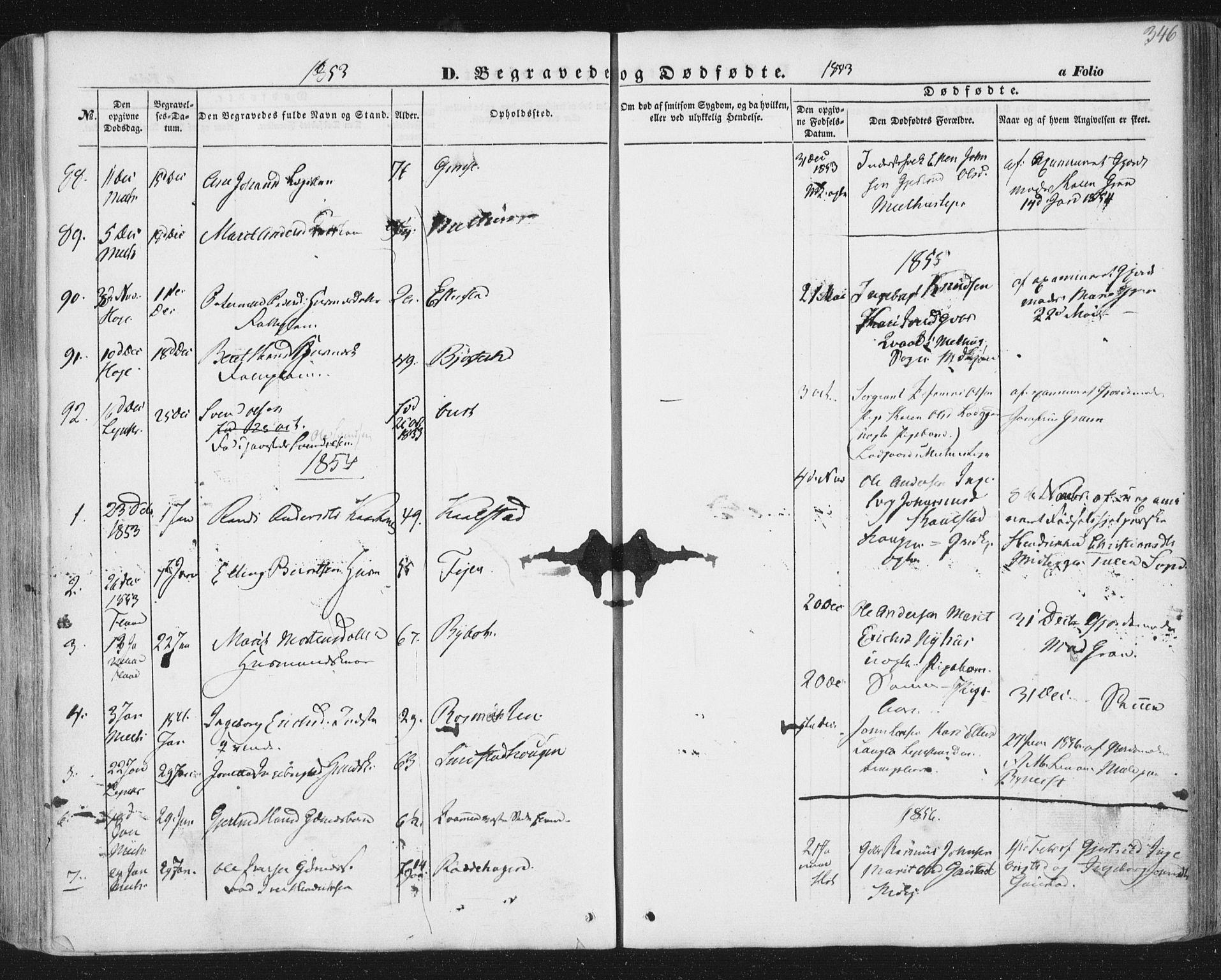 SAT, Ministerialprotokoller, klokkerbøker og fødselsregistre - Sør-Trøndelag, 691/L1076: Ministerialbok nr. 691A08, 1852-1861, s. 346