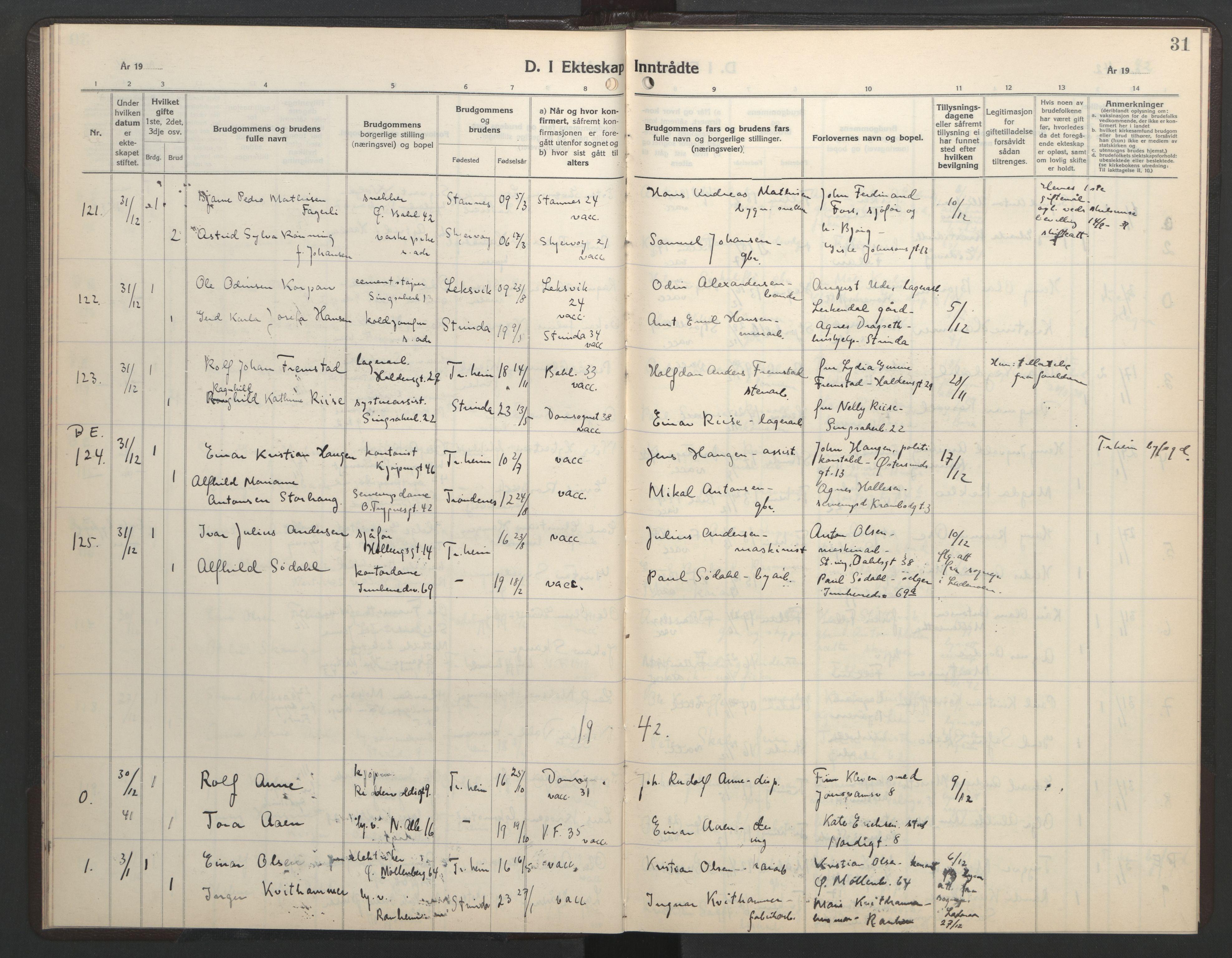 SAT, Ministerialprotokoller, klokkerbøker og fødselsregistre - Sør-Trøndelag, 602/L0154: Klokkerbok nr. 602C22, 1940-1947, s. 31
