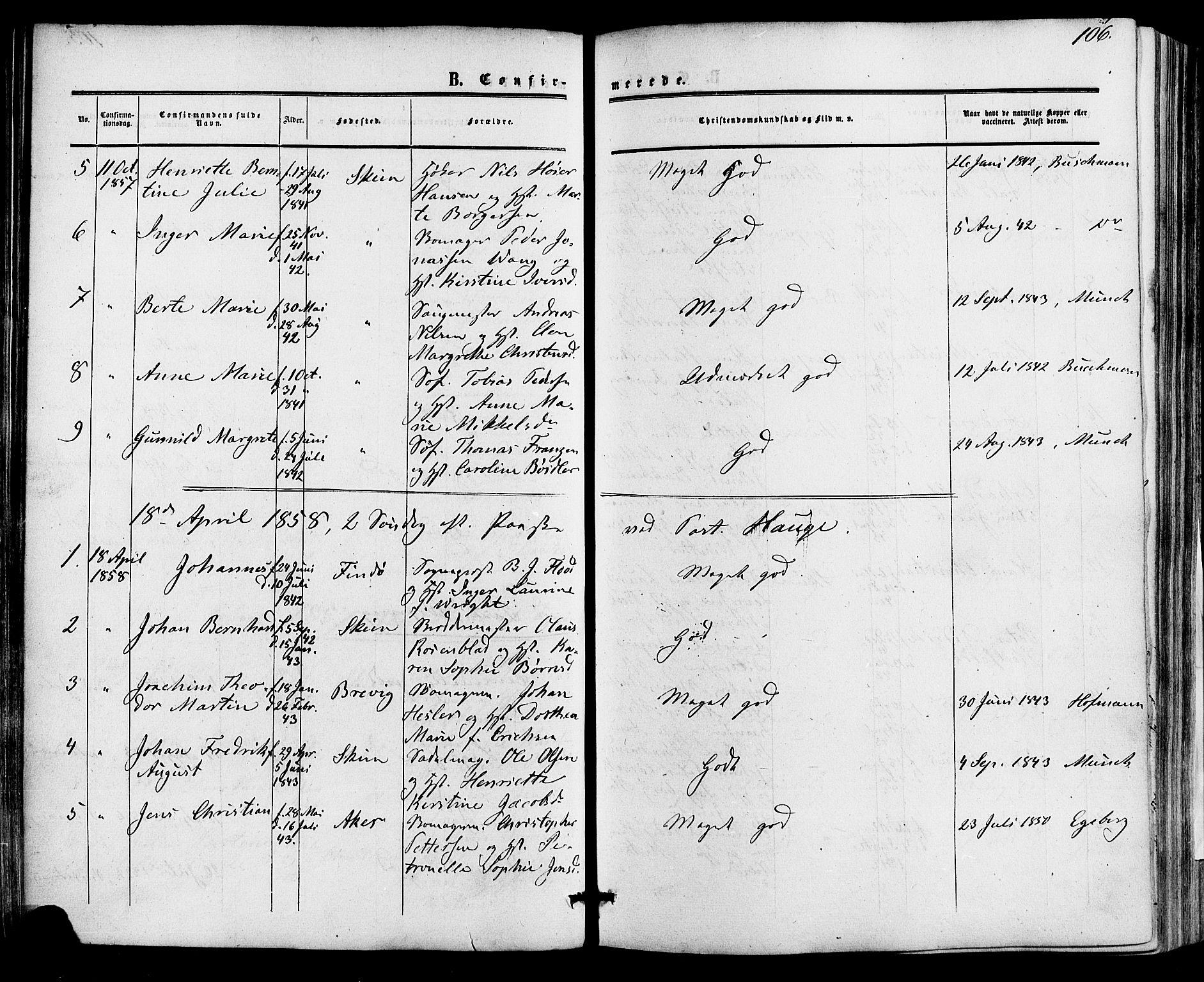 SAKO, Skien kirkebøker, F/Fa/L0007: Ministerialbok nr. 7, 1856-1865, s. 106