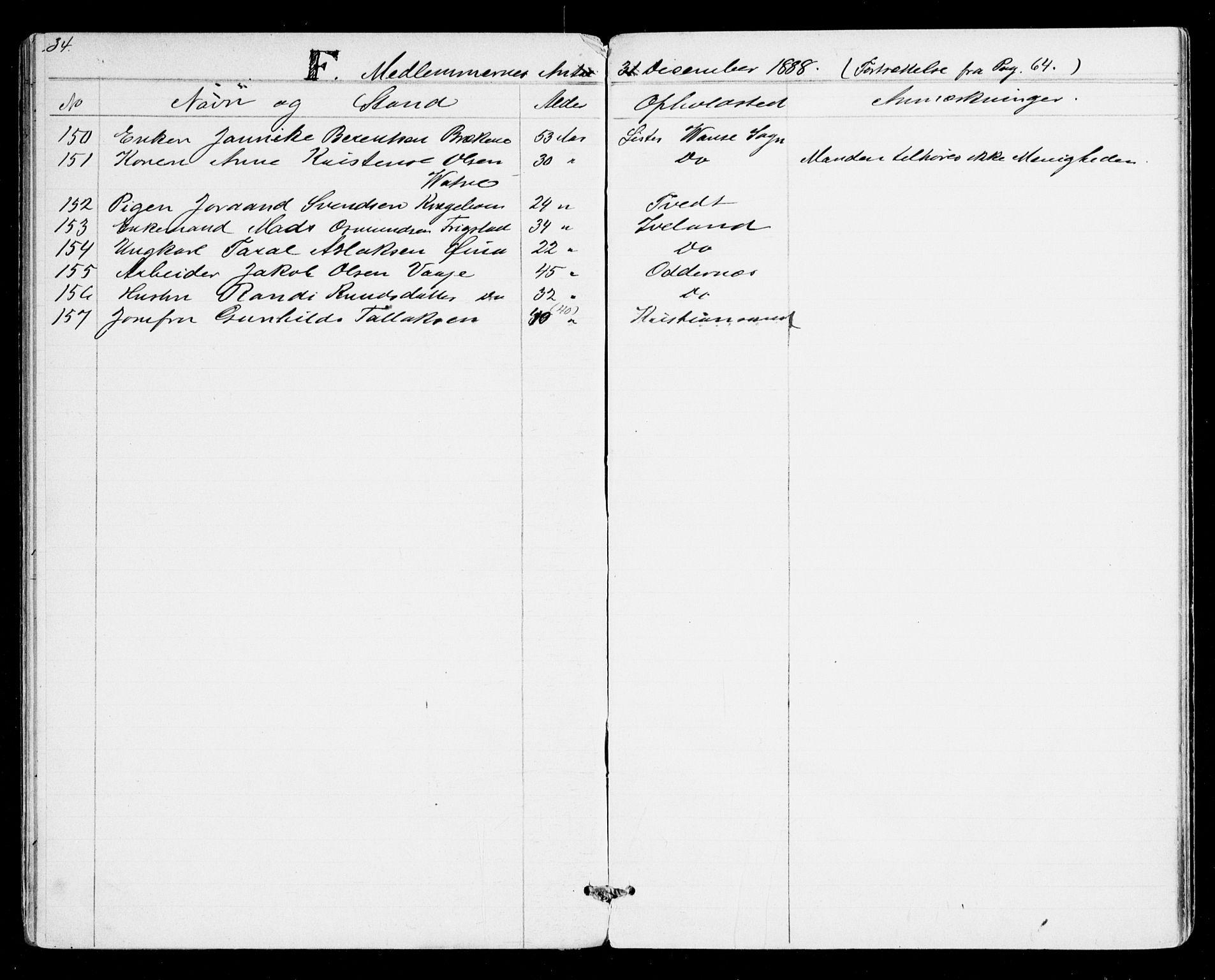 SAK, Den evangelisk-lutherske frikirke, Kristiansand, F/Fa/L0001: Dissenterprotokoll nr. F 9, 1877-1888, s. 34
