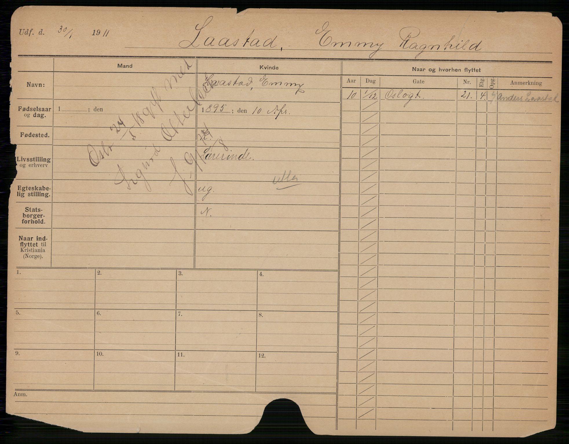 SAO, Oslo folkeregister, Registerkort, K/Kb/L0033: L - O, 1918
