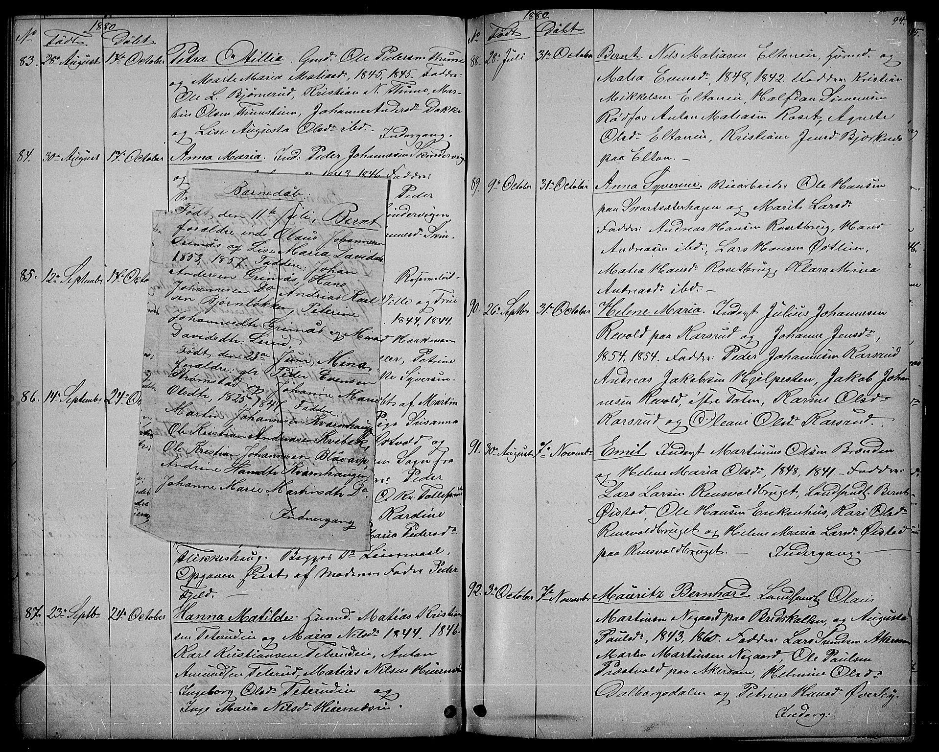 SAH, Vestre Toten prestekontor, H/Ha/Hab/L0006: Klokkerbok nr. 6, 1870-1887, s. 94