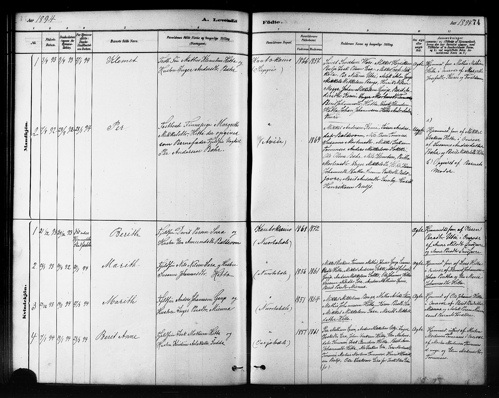 SATØ, Kautokeino sokneprestembete, H/Hb/L0002.klokk: Klokkerbok nr. 2, 1877-1896, s. 74