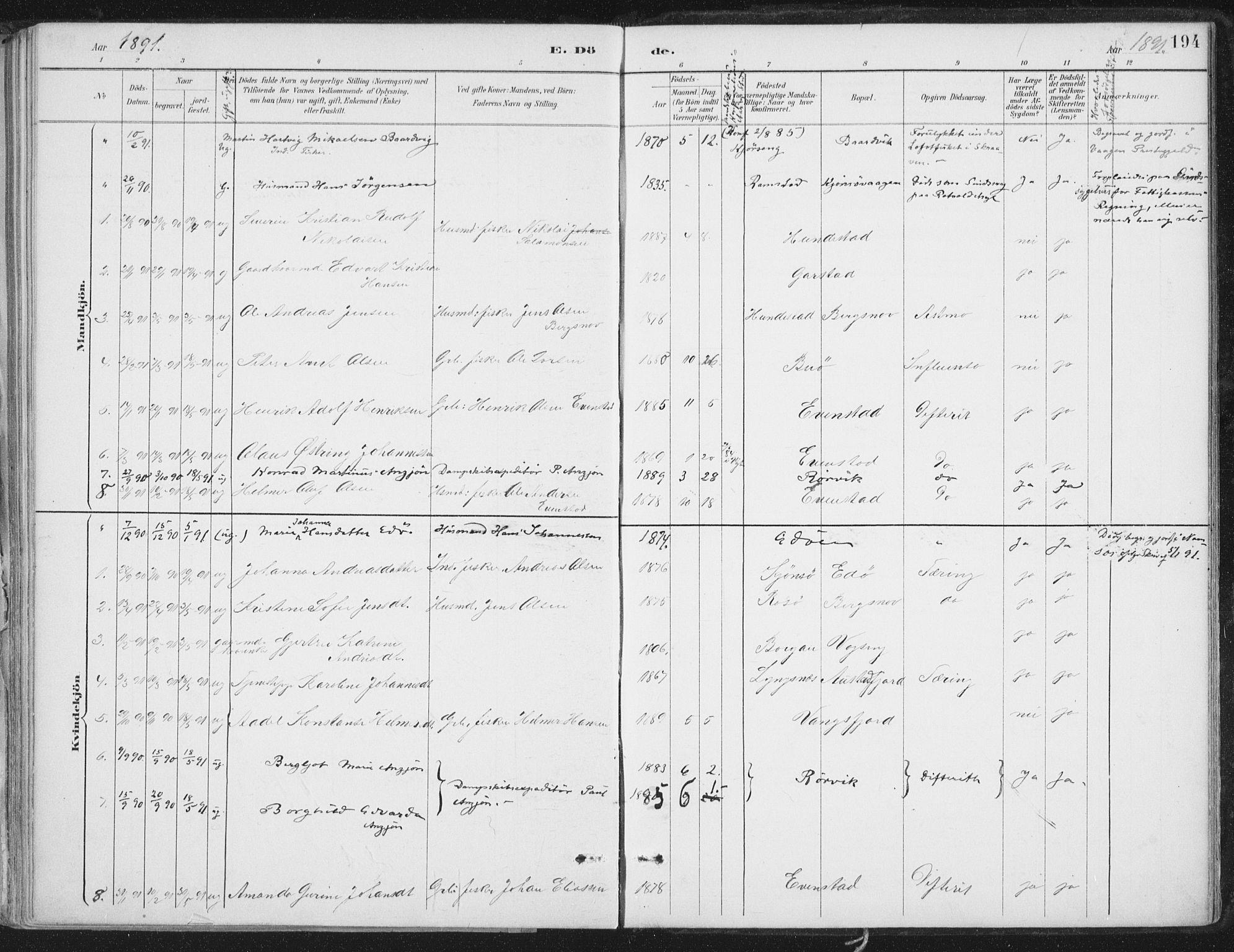 SAT, Ministerialprotokoller, klokkerbøker og fødselsregistre - Nord-Trøndelag, 786/L0687: Ministerialbok nr. 786A03, 1888-1898, s. 194