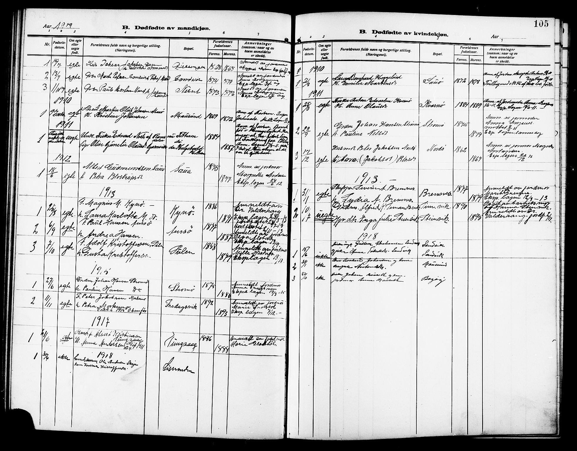SAT, Ministerialprotokoller, klokkerbøker og fødselsregistre - Sør-Trøndelag, 640/L0588: Klokkerbok nr. 640C05, 1909-1922, s. 105