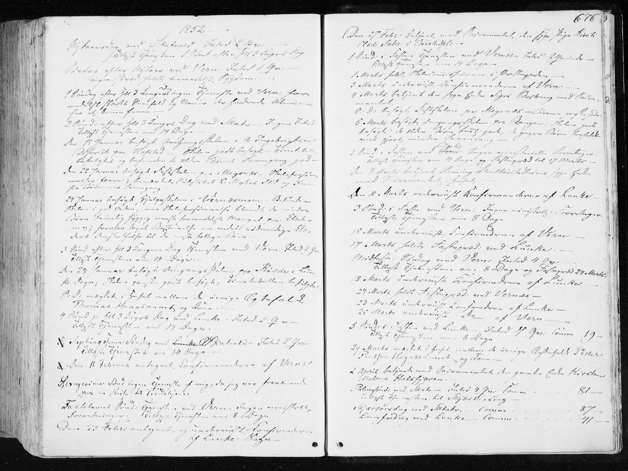 SAT, Ministerialprotokoller, klokkerbøker og fødselsregistre - Nord-Trøndelag, 709/L0074: Ministerialbok nr. 709A14, 1845-1858, s. 676