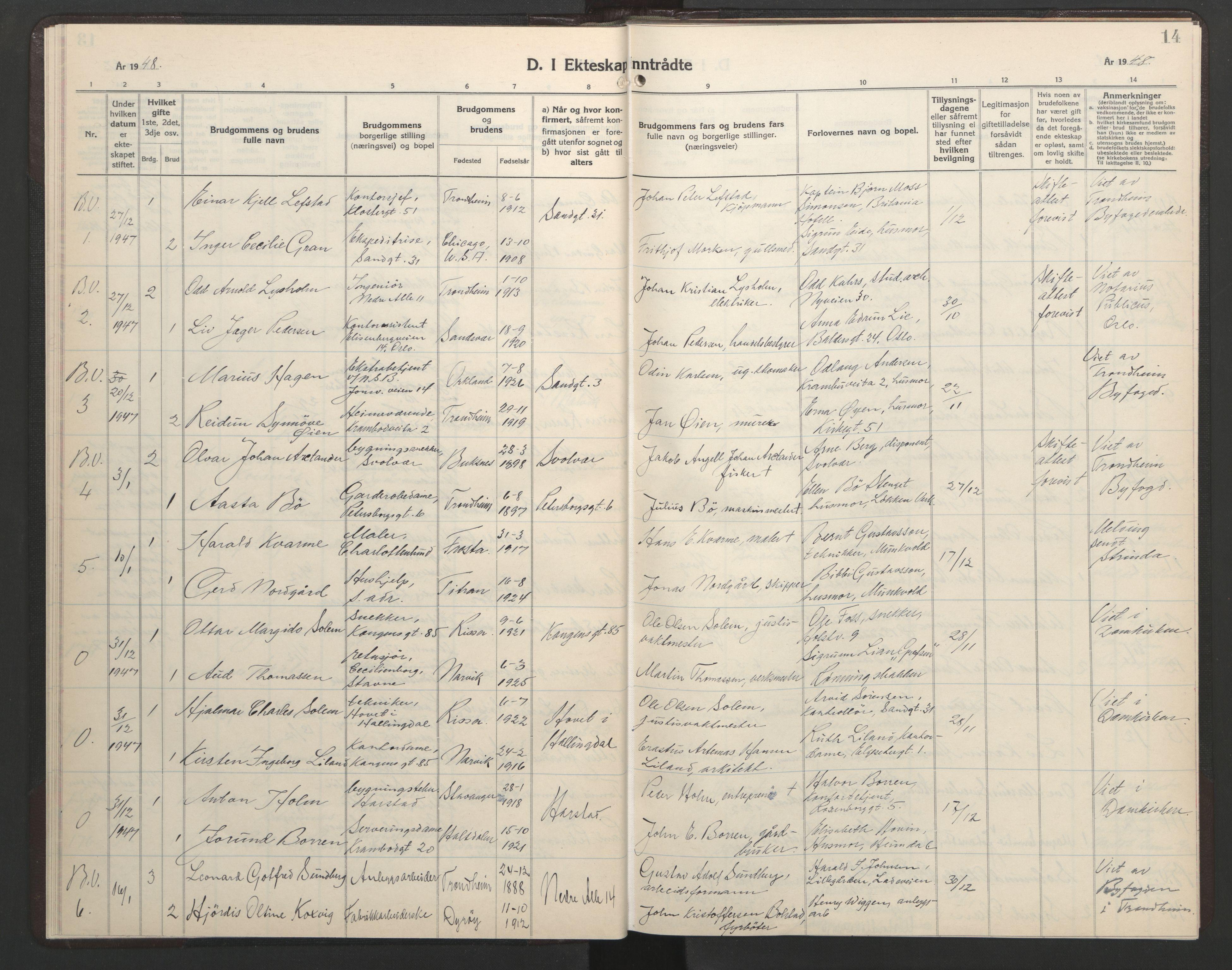 SAT, Ministerialprotokoller, klokkerbøker og fødselsregistre - Sør-Trøndelag, 602/L0155: Klokkerbok nr. 602C23, 1947-1950, s. 14
