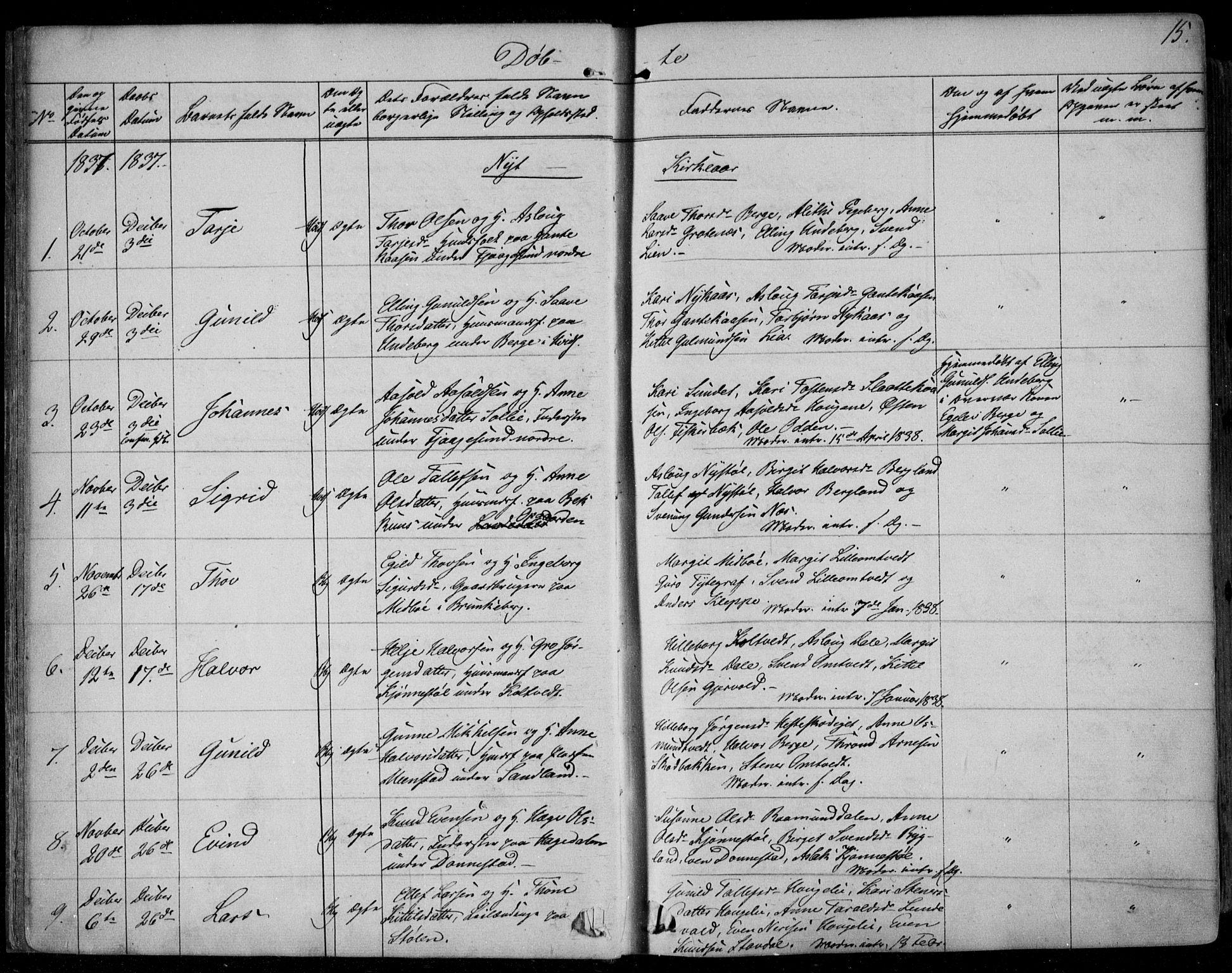 SAKO, Kviteseid kirkebøker, F/Fa/L0006: Ministerialbok nr. I 6, 1836-1858, s. 15