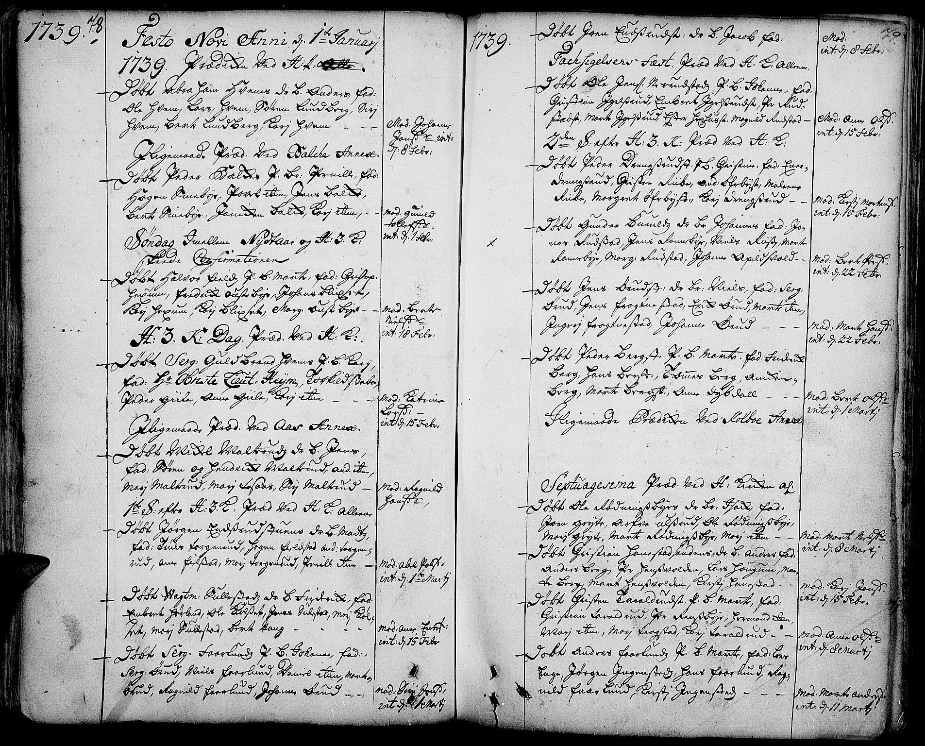 SAH, Toten prestekontor, Ministerialbok nr. 3, 1734-1751, s. 78-79