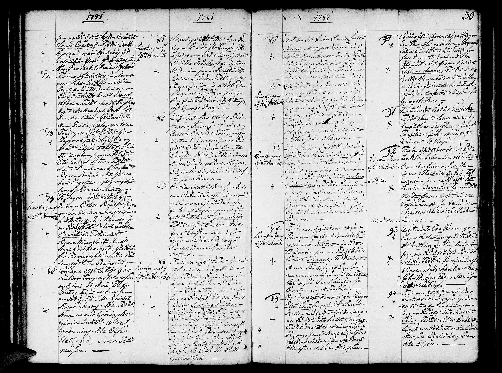 SAB, Nykirken Sokneprestembete, H/Haa: Ministerialbok nr. A 5, 1775-1808, s. 30