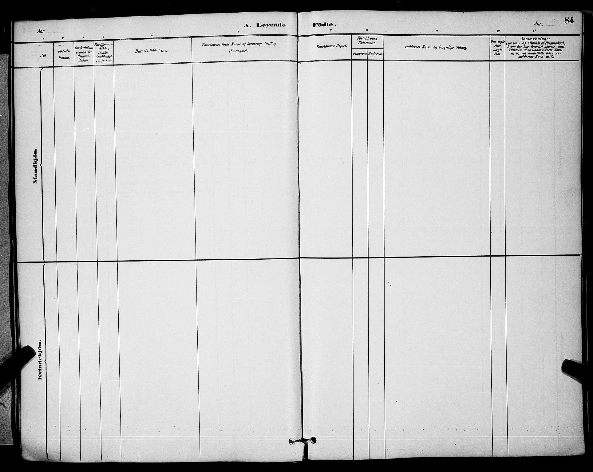 SAKO, Brevik kirkebøker, G/Ga/L0004: Klokkerbok nr. 4, 1882-1900, s. 84