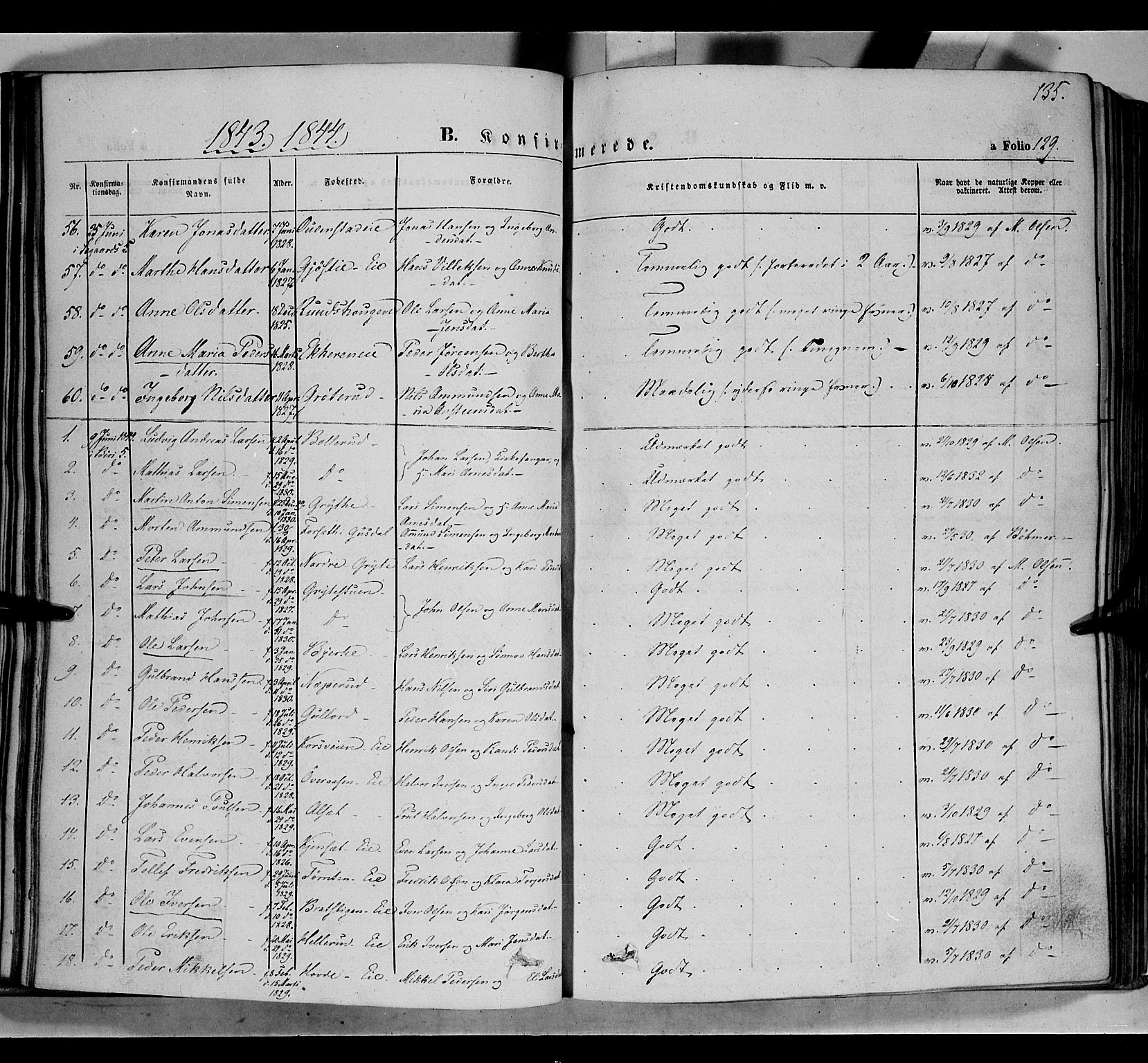 SAH, Biri prestekontor, Ministerialbok nr. 5, 1843-1854, s. 135