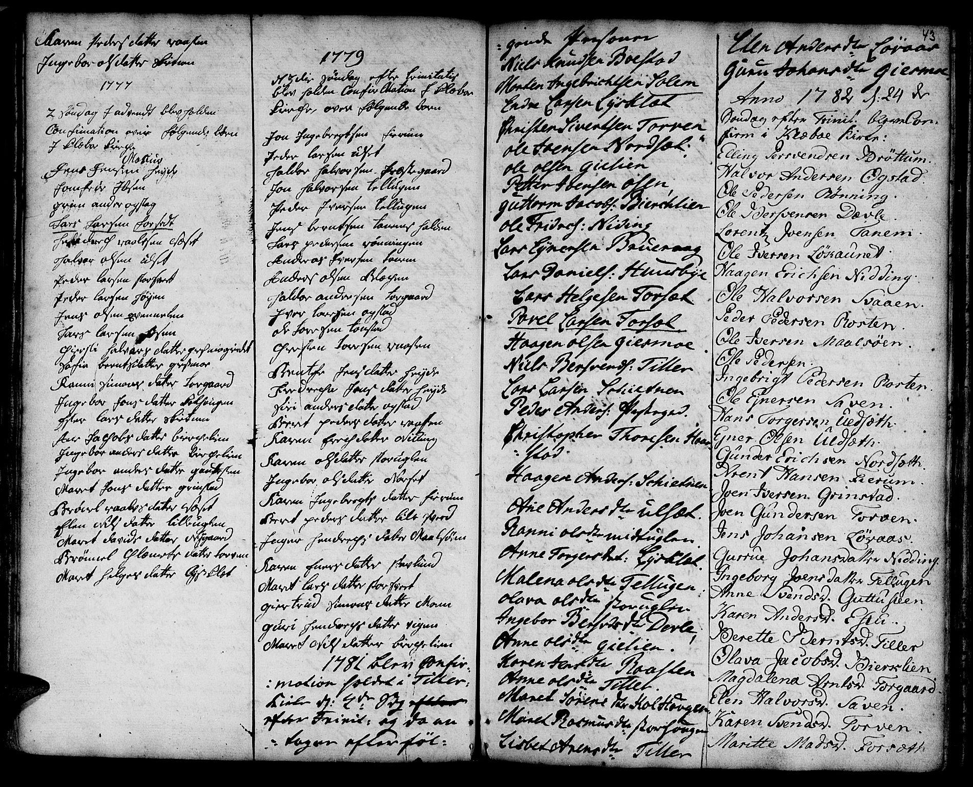 SAT, Ministerialprotokoller, klokkerbøker og fødselsregistre - Sør-Trøndelag, 618/L0437: Ministerialbok nr. 618A02, 1749-1782, s. 43