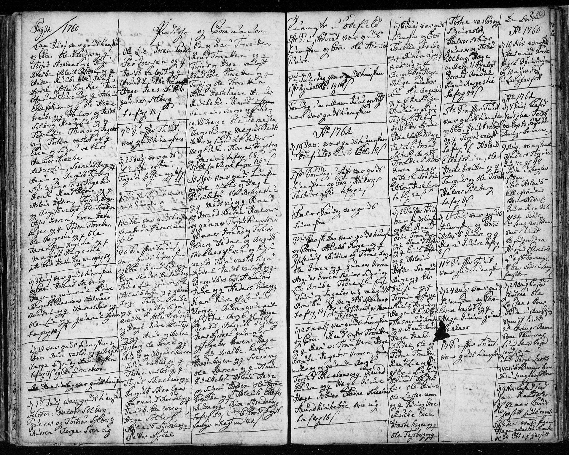 SAKO, Lårdal kirkebøker, F/Fa/L0003: Ministerialbok nr. I 3, 1754-1790, s. 80