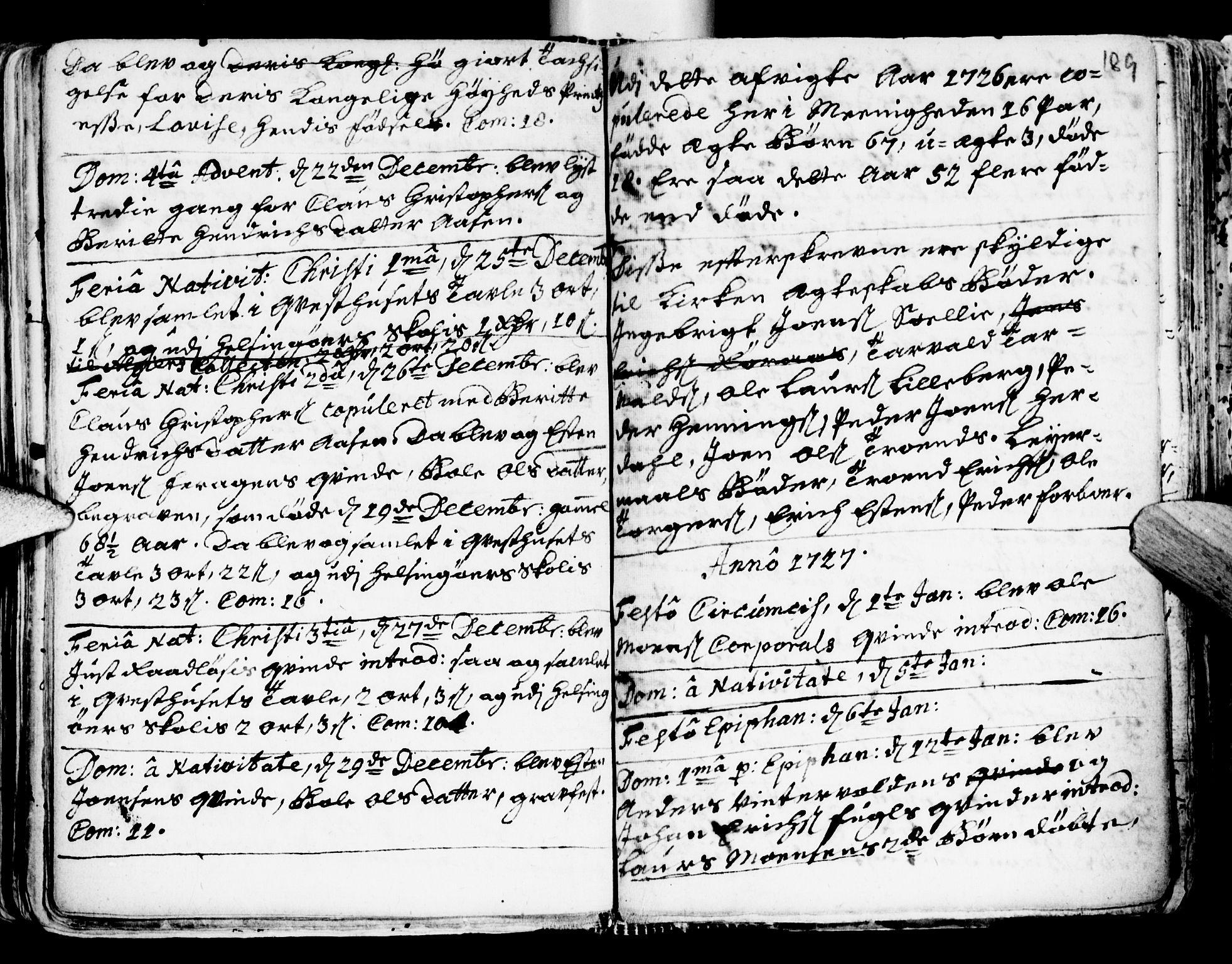 SAT, Ministerialprotokoller, klokkerbøker og fødselsregistre - Sør-Trøndelag, 681/L0924: Ministerialbok nr. 681A02, 1720-1731, s. 188-189