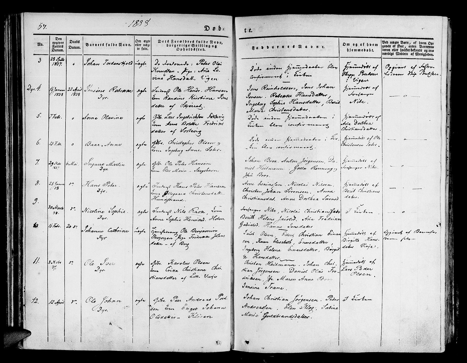 SATØ, Tranøy sokneprestkontor, I/Ia/Iaa/L0005kirke: Ministerialbok nr. 5, 1829-1844, s. 57
