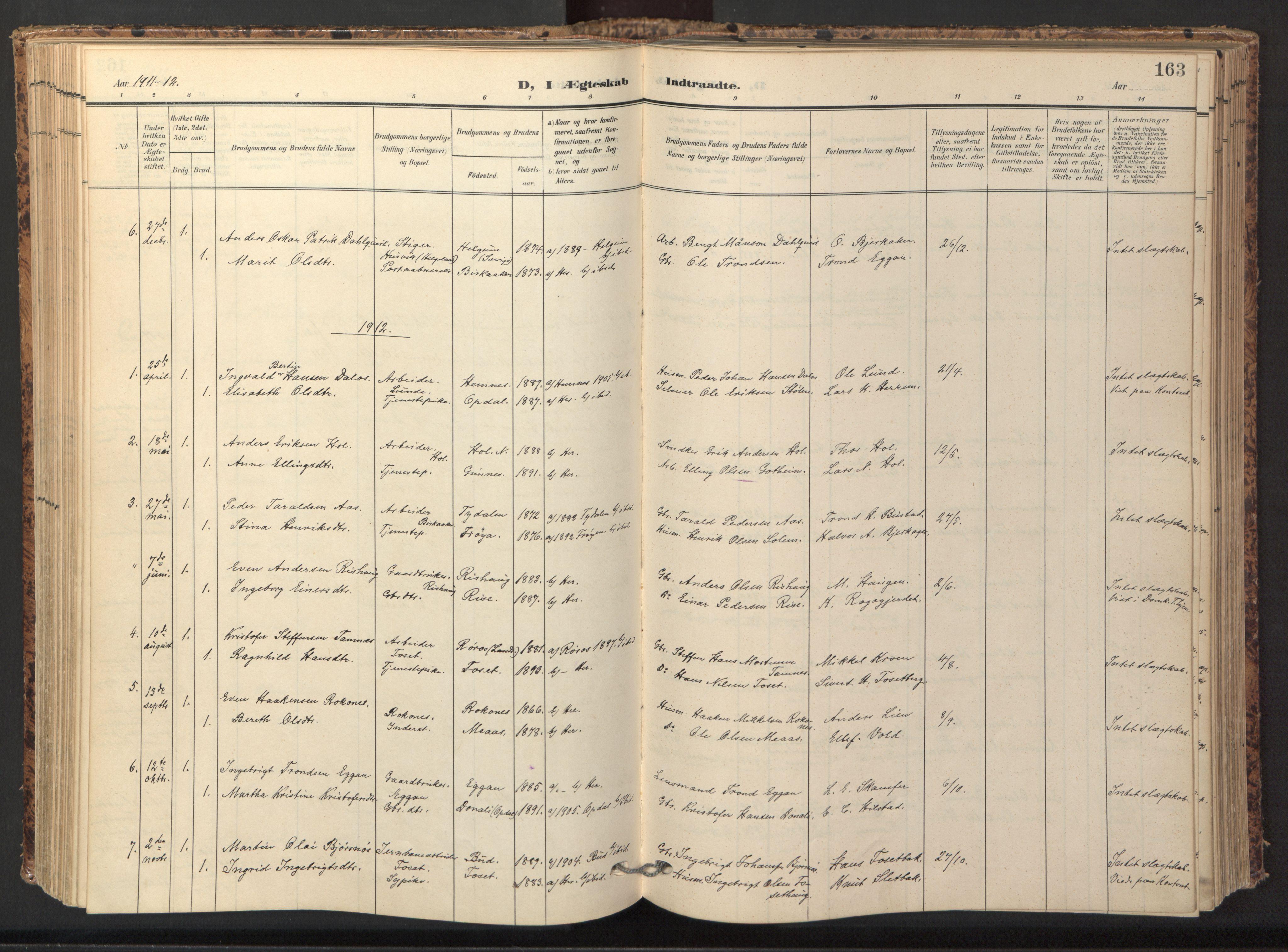 SAT, Ministerialprotokoller, klokkerbøker og fødselsregistre - Sør-Trøndelag, 674/L0873: Ministerialbok nr. 674A05, 1908-1923, s. 163