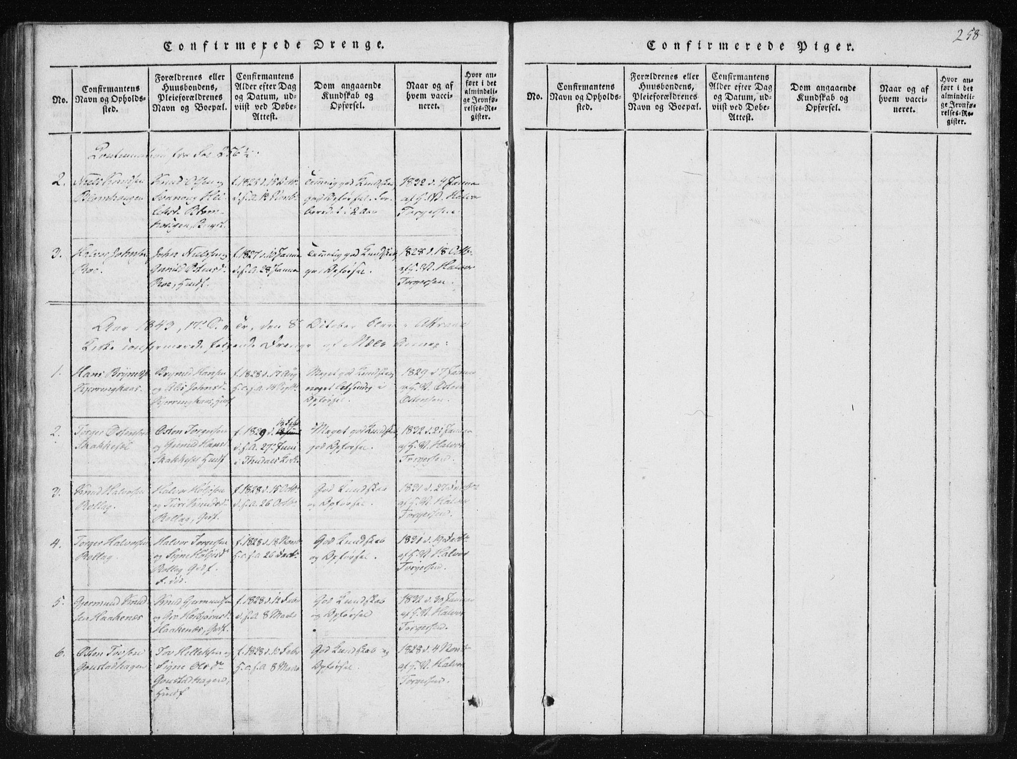 SAKO, Tinn kirkebøker, F/Fb/L0001: Ministerialbok nr. II 1, 1815-1843, s. 258