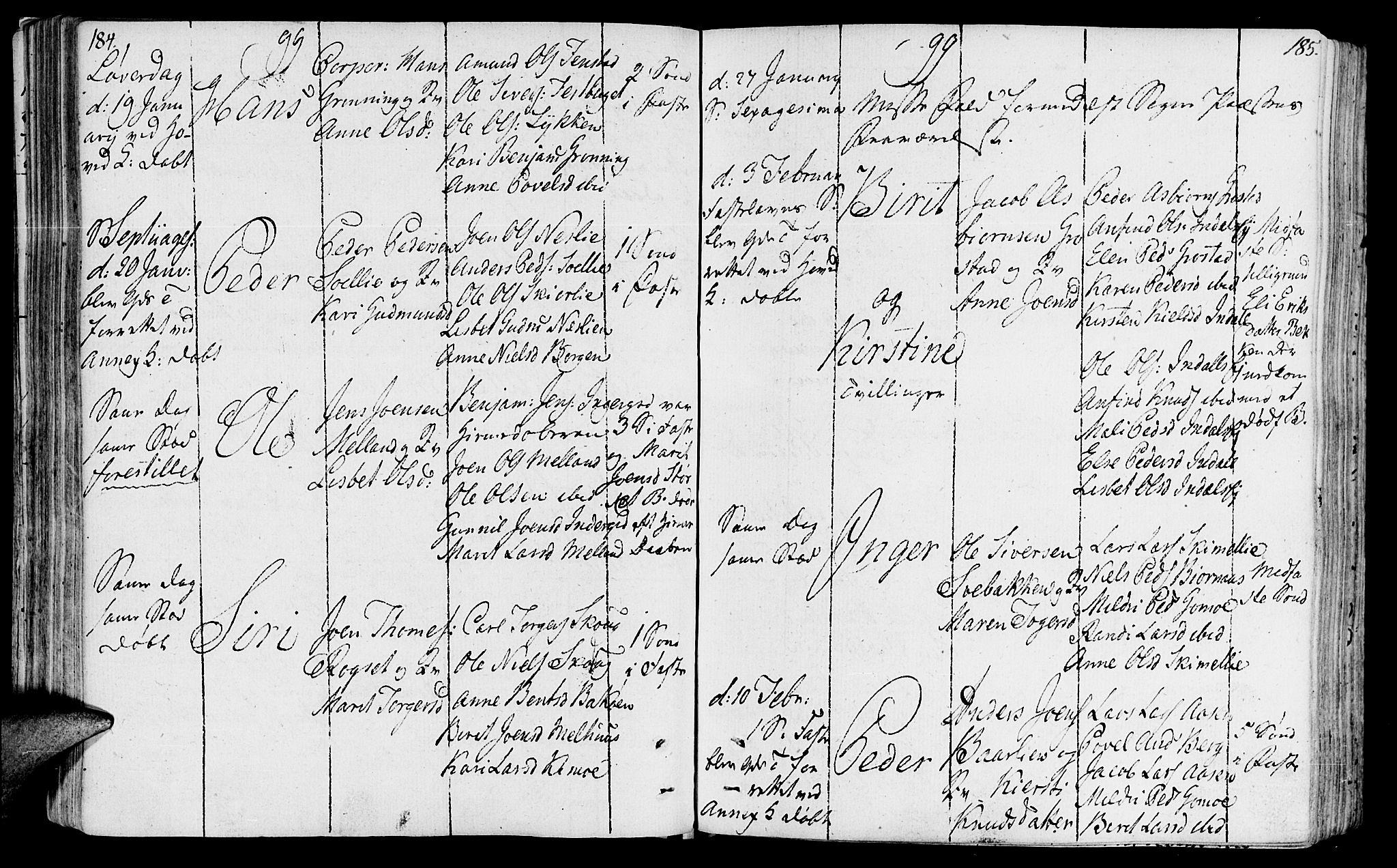 SAT, Ministerialprotokoller, klokkerbøker og fødselsregistre - Sør-Trøndelag, 646/L0606: Ministerialbok nr. 646A04, 1791-1805, s. 184-185