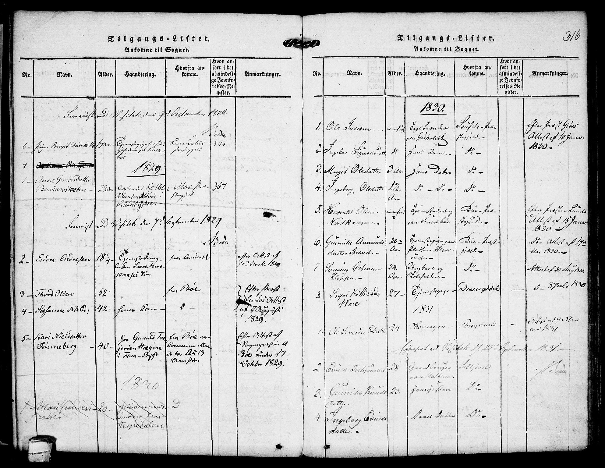 SAKO, Kviteseid kirkebøker, F/Fa/L0005: Ministerialbok nr. I 5, 1815-1836, s. 316