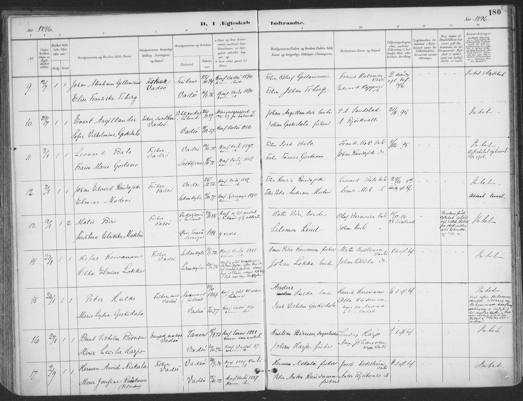 SATØ, Vadsø sokneprestkontor, H/Ha/L0007kirke: Ministerialbok nr. 7, 1896-1916, s. 180