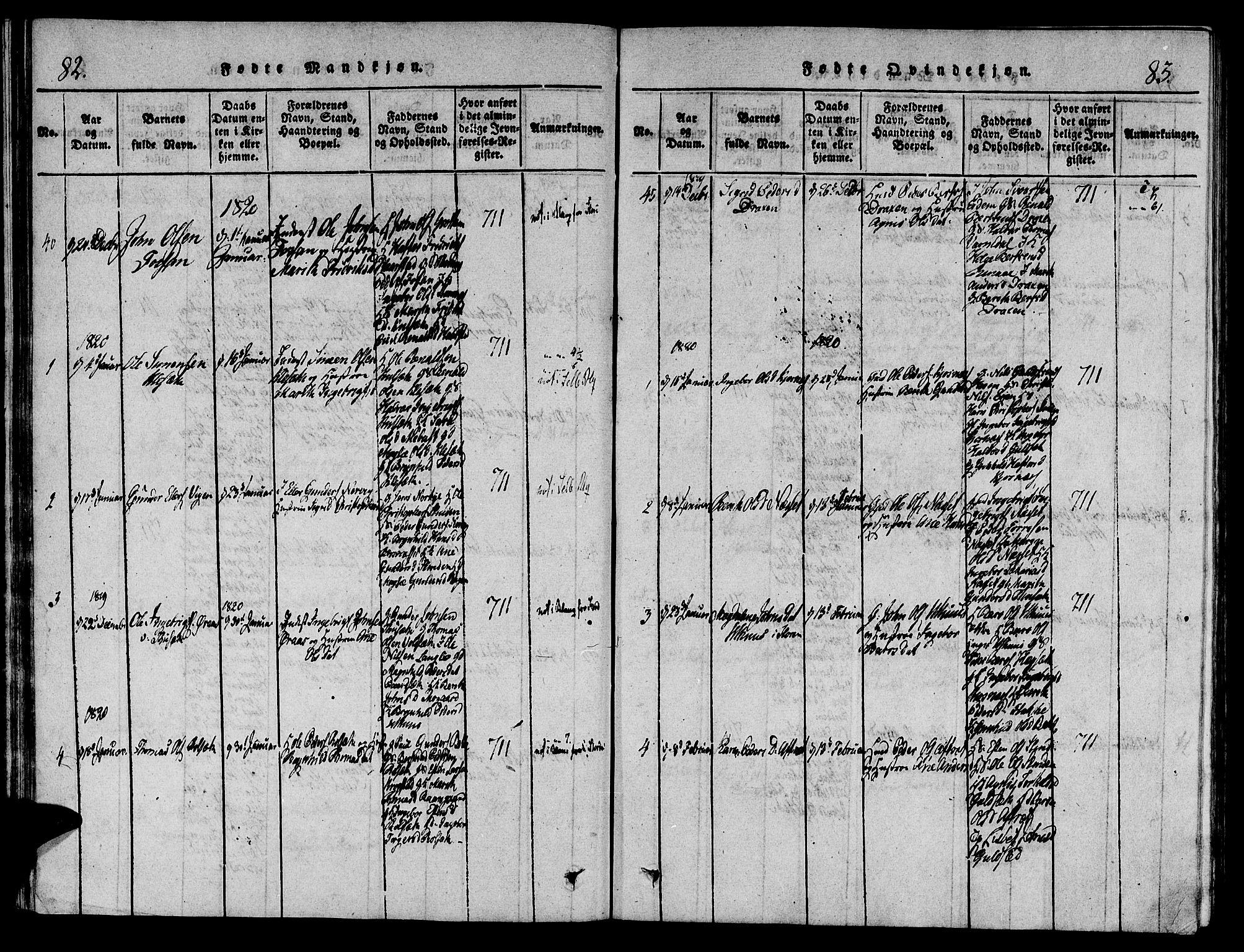 SAT, Ministerialprotokoller, klokkerbøker og fødselsregistre - Sør-Trøndelag, 695/L1141: Ministerialbok nr. 695A04 /1, 1816-1824, s. 82-83