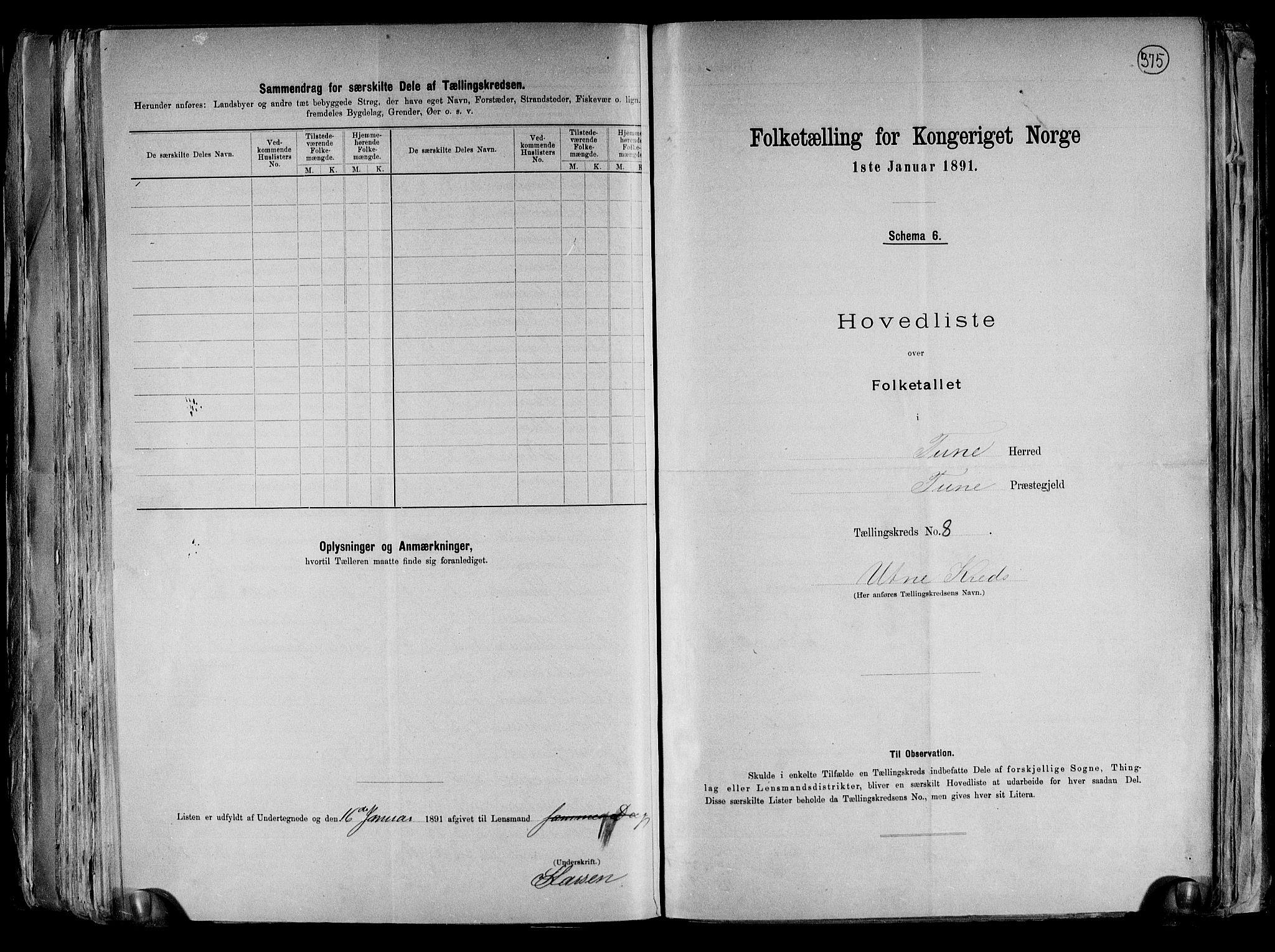 RA, Folketelling 1891 for 0130 Tune herred, 1891, s. 34