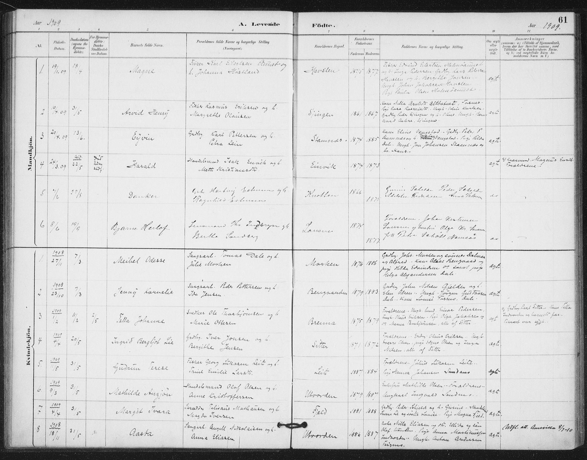 SAT, Ministerialprotokoller, klokkerbøker og fødselsregistre - Nord-Trøndelag, 772/L0603: Ministerialbok nr. 772A01, 1885-1912, s. 61
