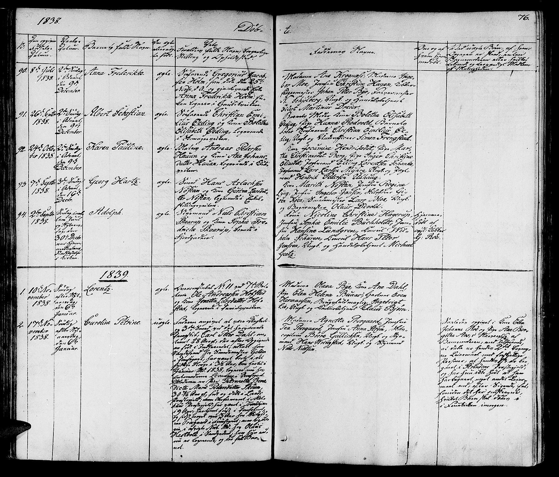 SAT, Ministerialprotokoller, klokkerbøker og fødselsregistre - Sør-Trøndelag, 602/L0136: Klokkerbok nr. 602C04, 1833-1845, s. 76