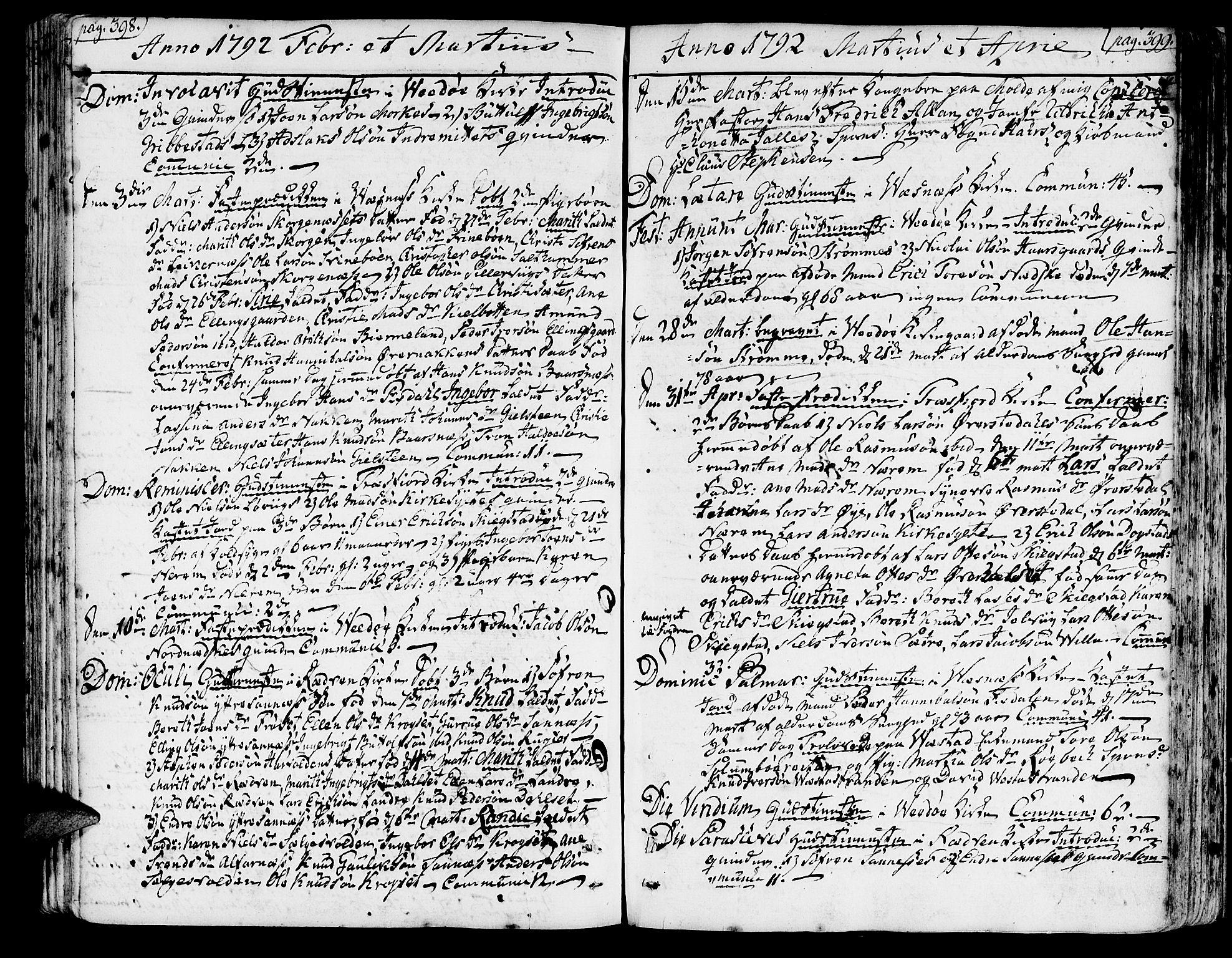 SAT, Ministerialprotokoller, klokkerbøker og fødselsregistre - Møre og Romsdal, 547/L0600: Ministerialbok nr. 547A02, 1765-1799, s. 398-399