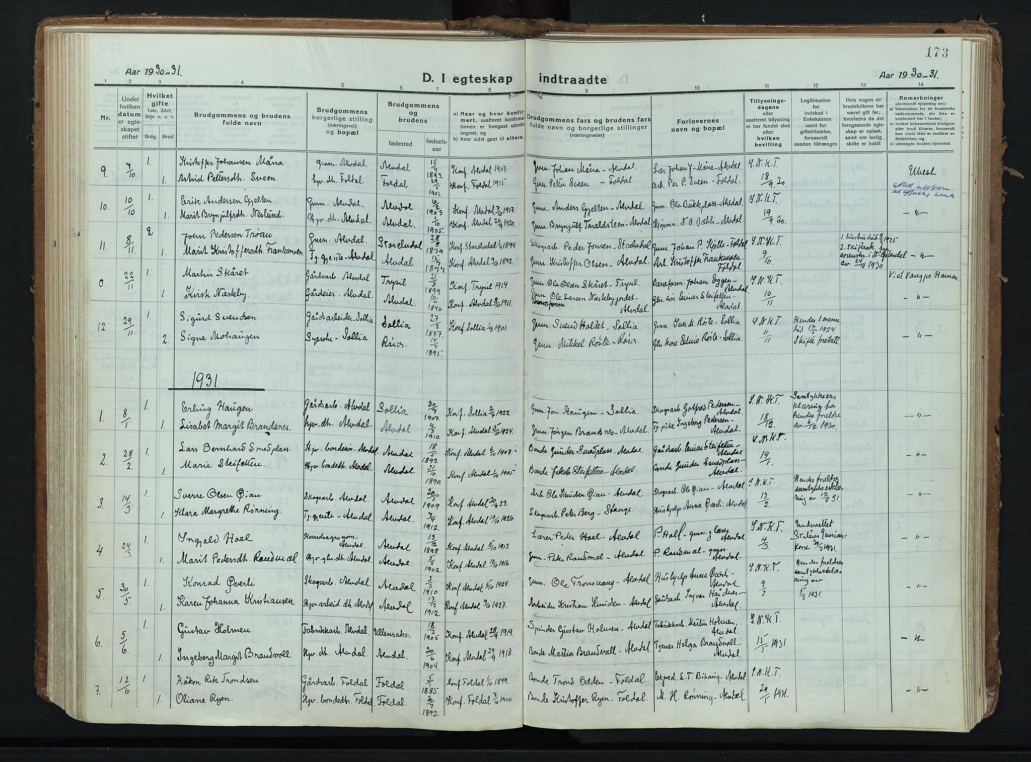 SAH, Alvdal prestekontor, Ministerialbok nr. 6, 1920-1937, s. 173