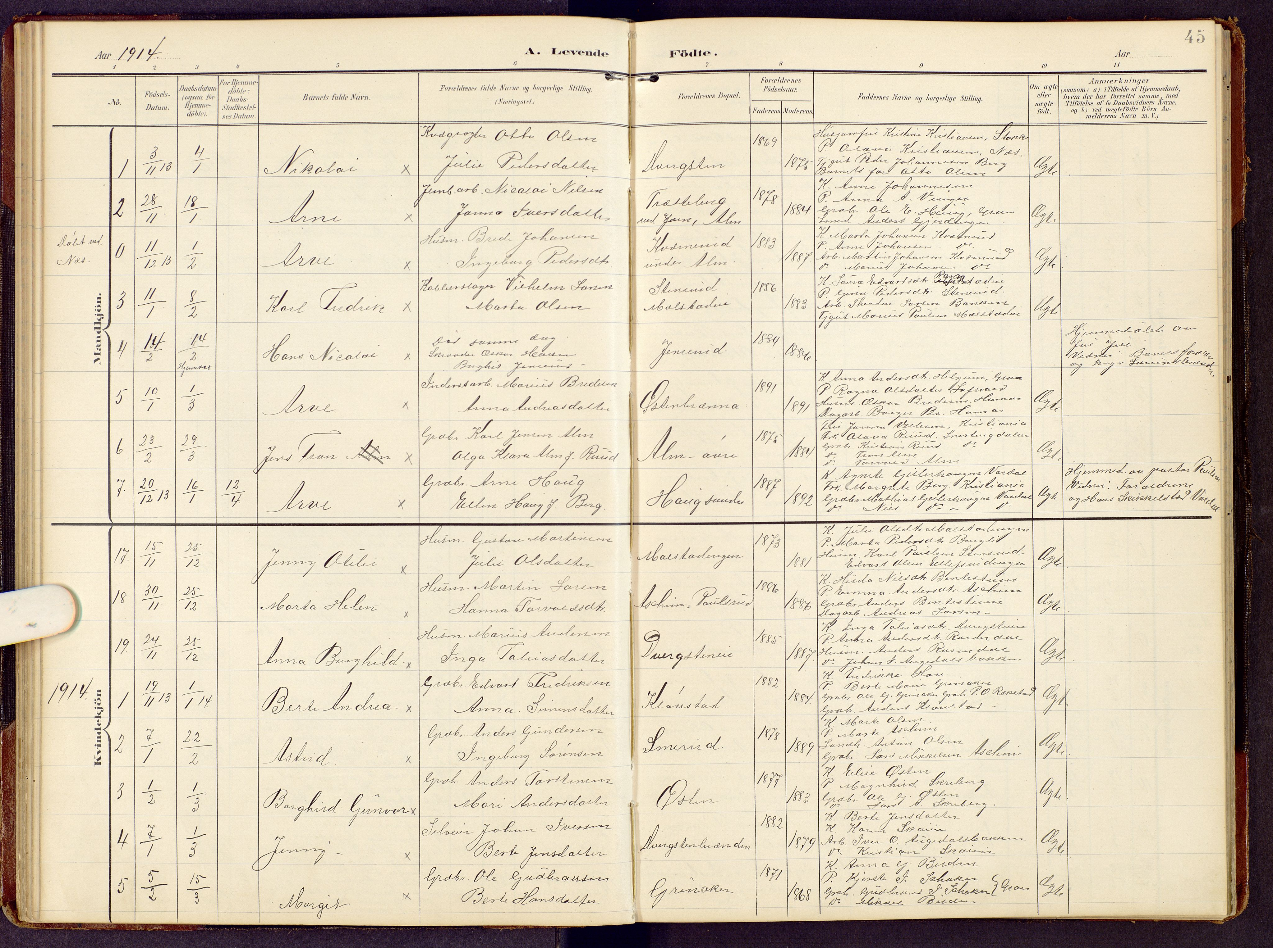 SAH, Brandbu prestekontor, Klokkerbok nr. 9, 1903-1916, s. 45
