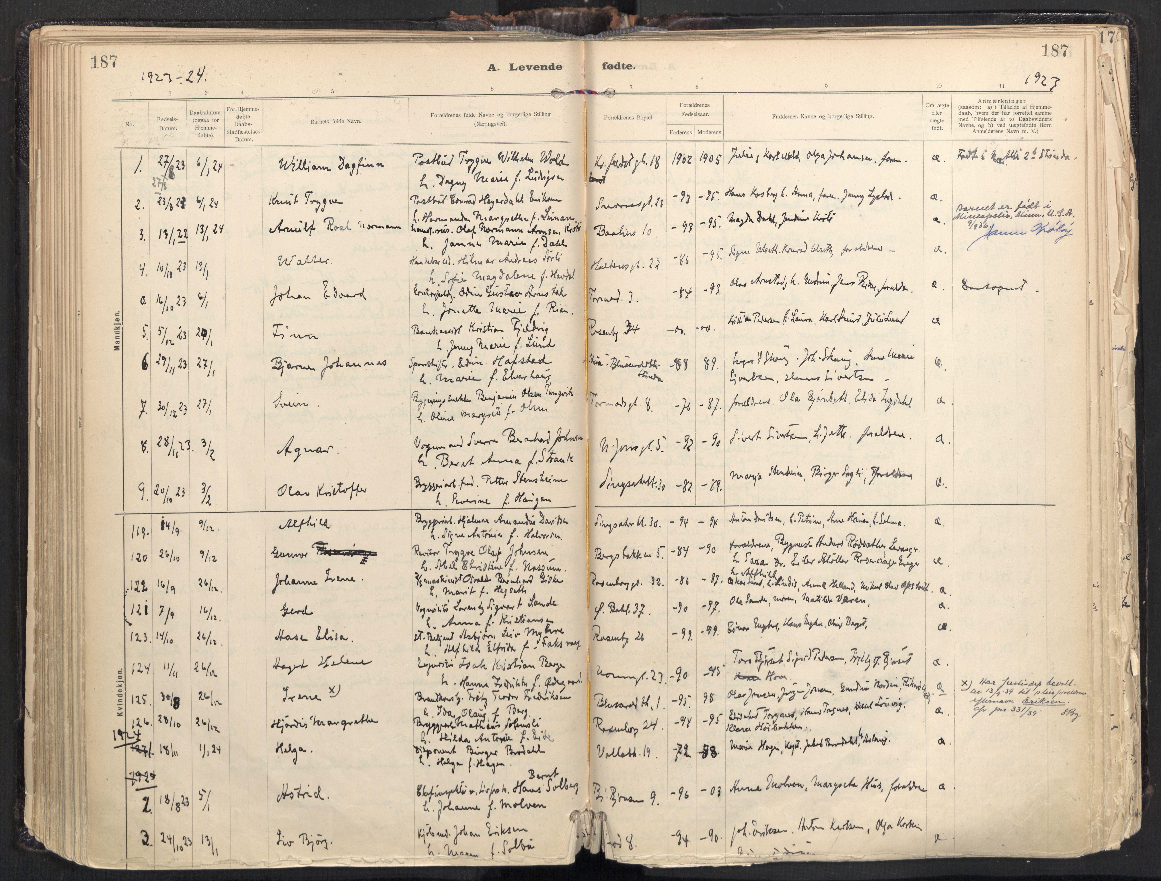 SAT, Ministerialprotokoller, klokkerbøker og fødselsregistre - Sør-Trøndelag, 604/L0205: Ministerialbok nr. 604A25, 1917-1932, s. 187
