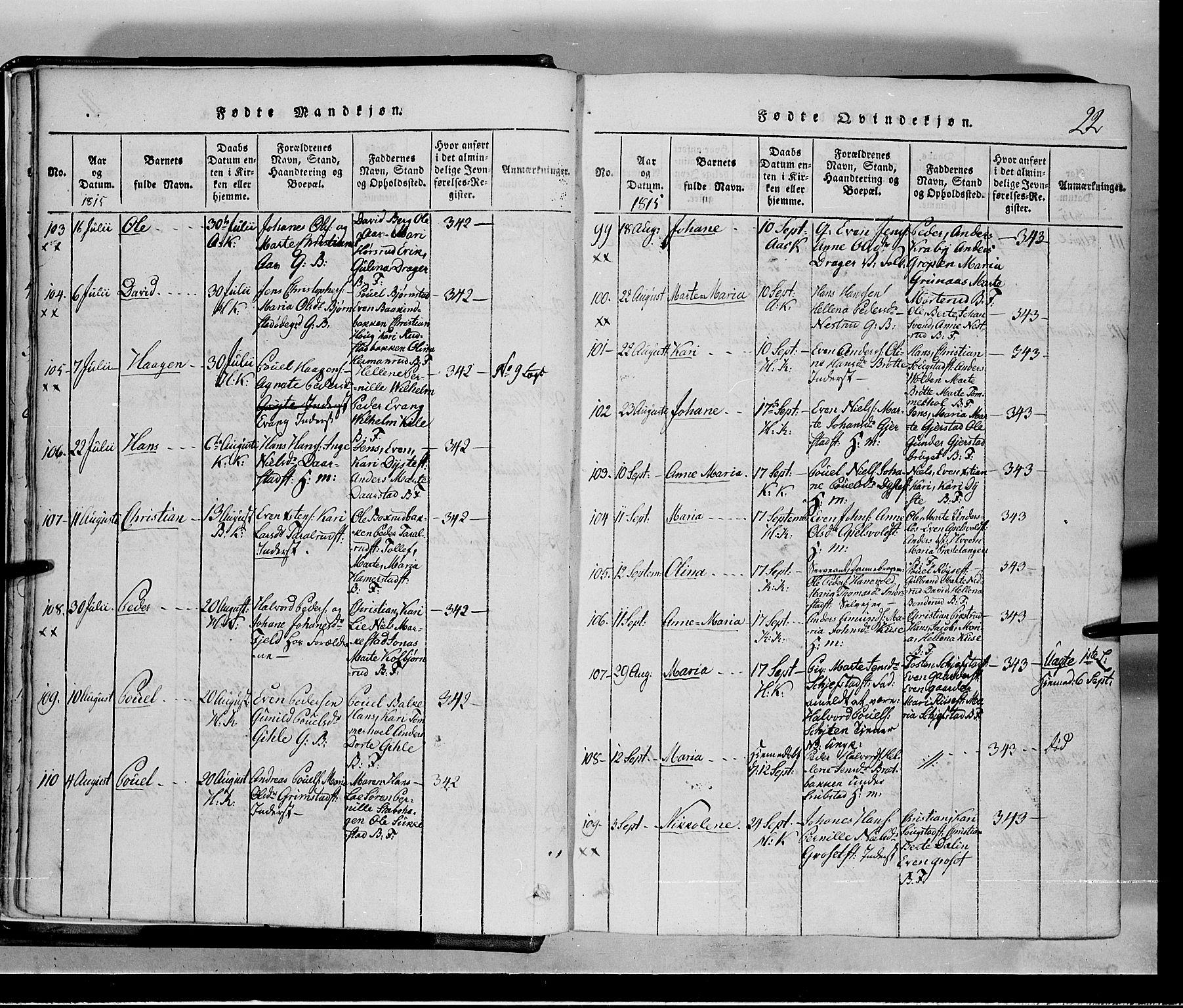 SAH, Toten prestekontor, Klokkerbok nr. 1, 1814-1820, s. 22