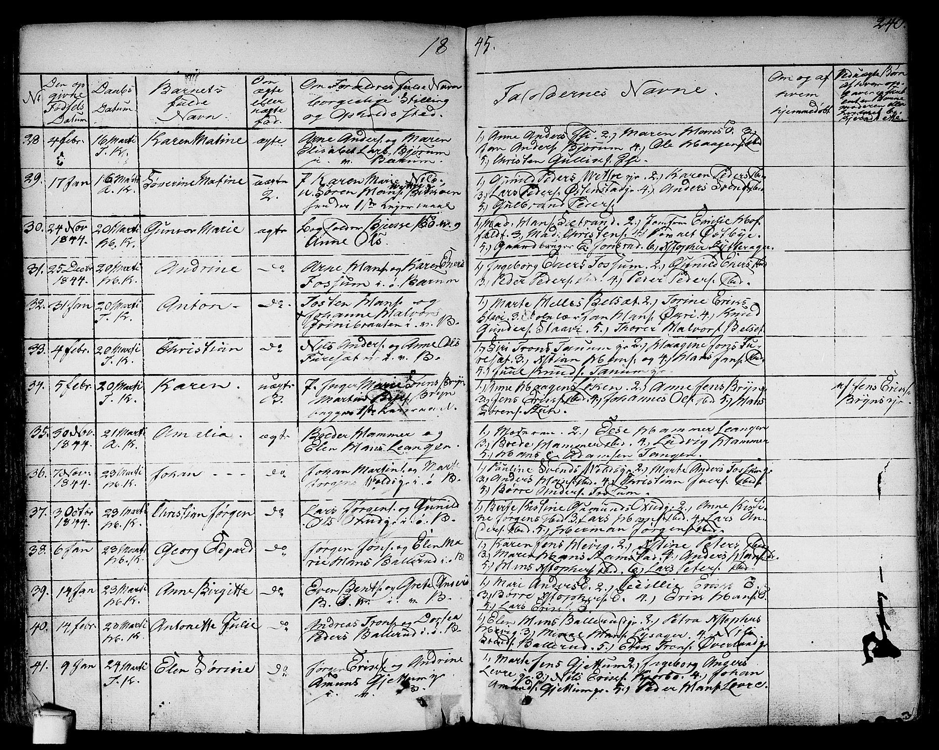 SAO, Asker prestekontor Kirkebøker, F/Fa/L0007: Ministerialbok nr. I 7, 1825-1864, s. 240