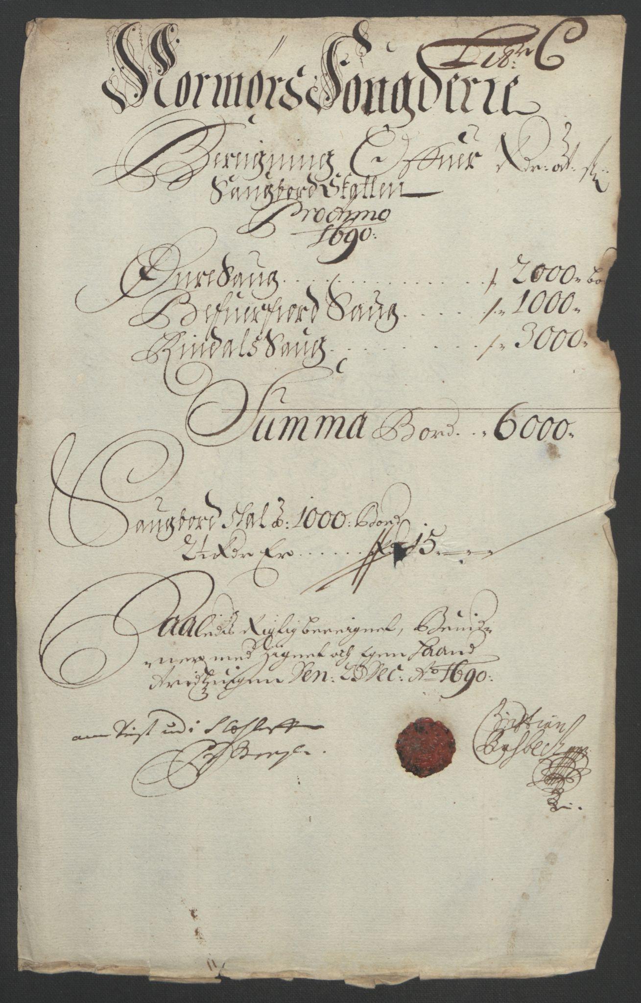 RA, Rentekammeret inntil 1814, Reviderte regnskaper, Fogderegnskap, R56/L3734: Fogderegnskap Nordmøre, 1690-1691, s. 77