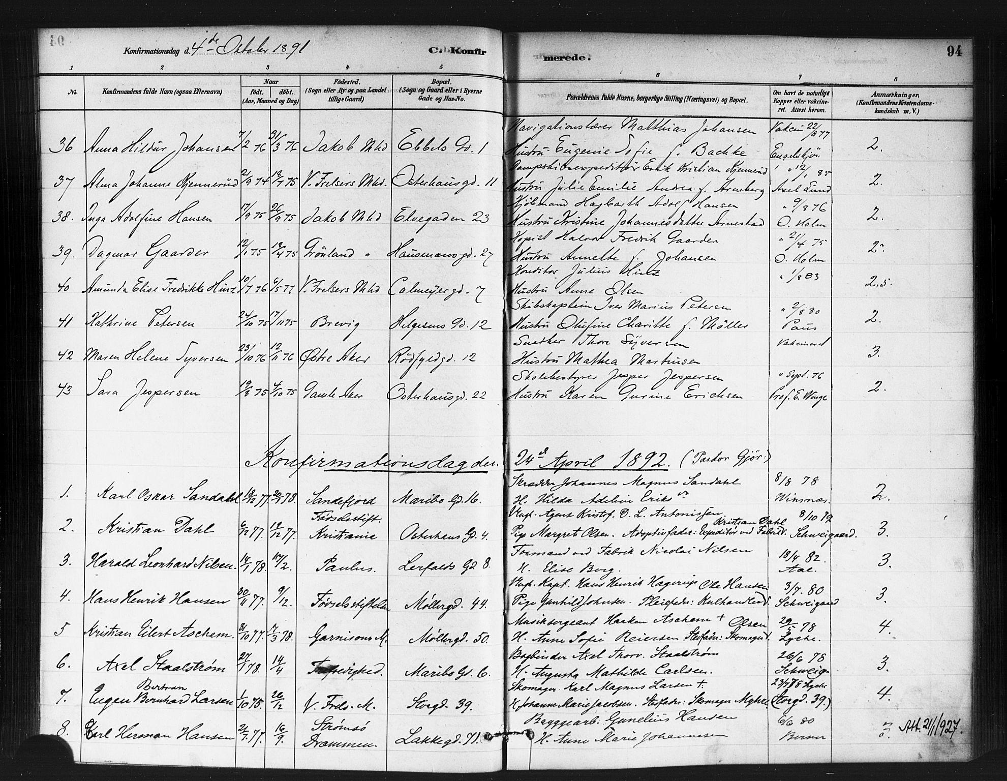 SAO, Jakob prestekontor Kirkebøker, F/Fa/L0004: Ministerialbok nr. 4, 1880-1894, s. 94