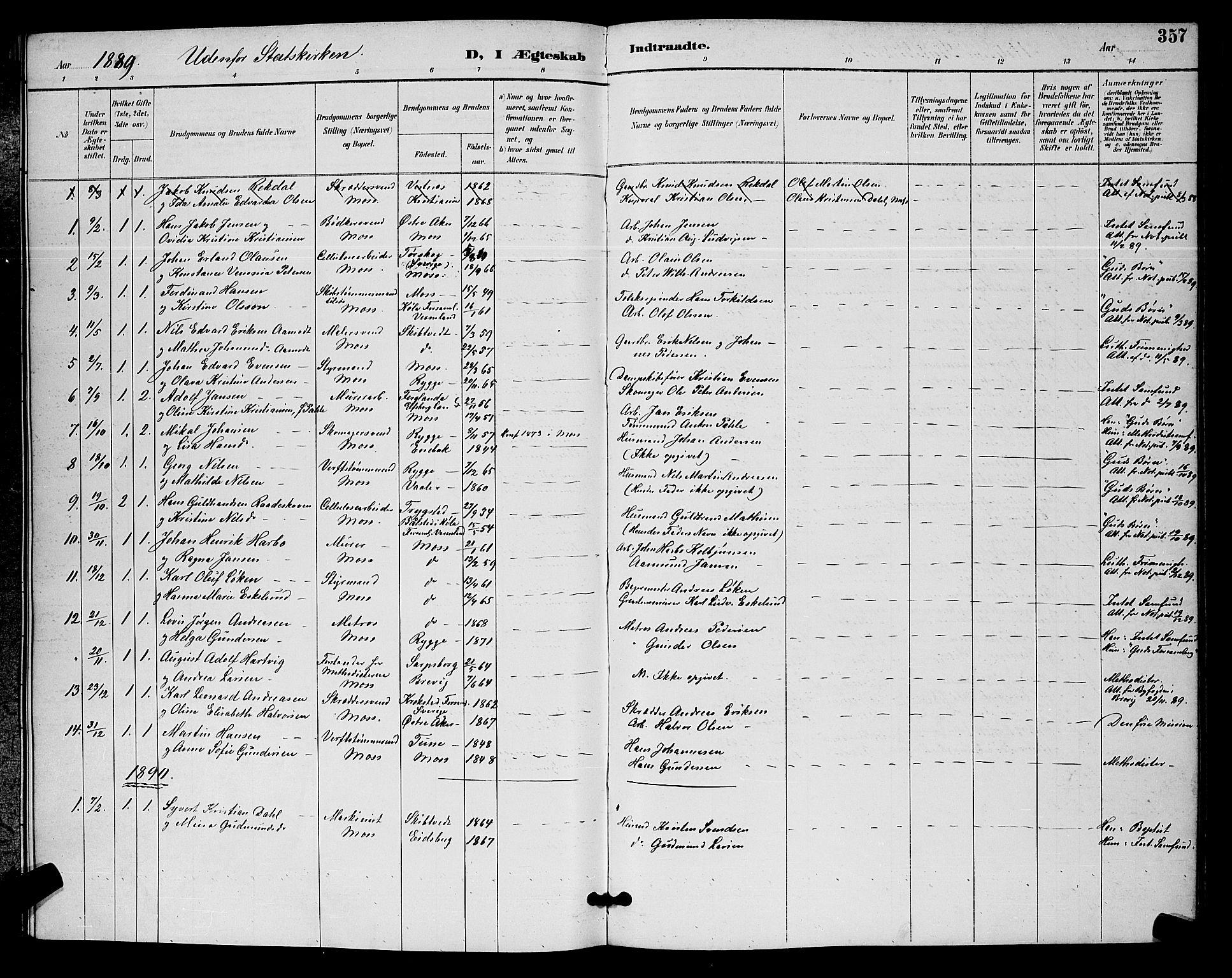 SAO, Moss prestekontor Kirkebøker, G/Ga/L0006: Klokkerbok nr. I 6, 1889-1900, s. 357