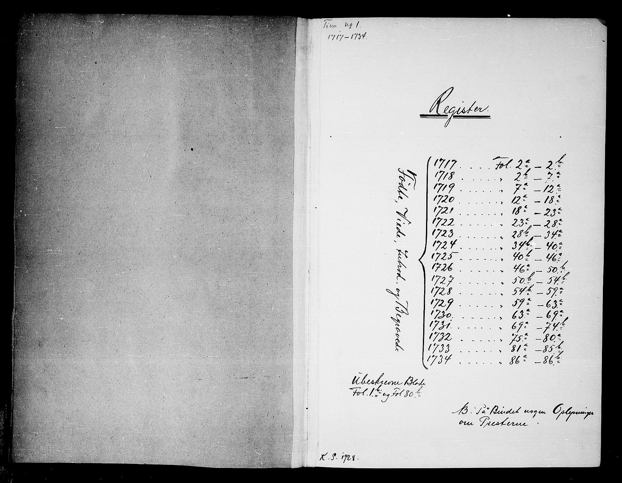 SAKO, Tinn kirkebøker, F/Fa/L0001: Ministerialbok nr. I 1, 1717-1734