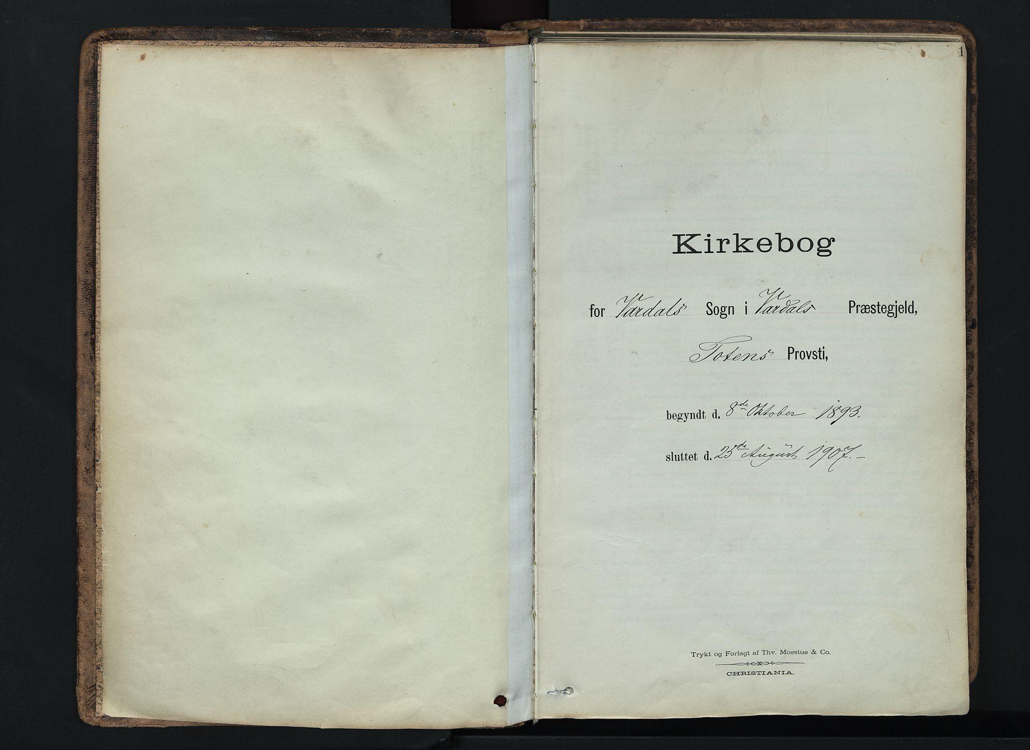 SAH, Vardal prestekontor, H/Ha/Haa/L0019: Ministerialbok nr. 19, 1893-1907, s. 1