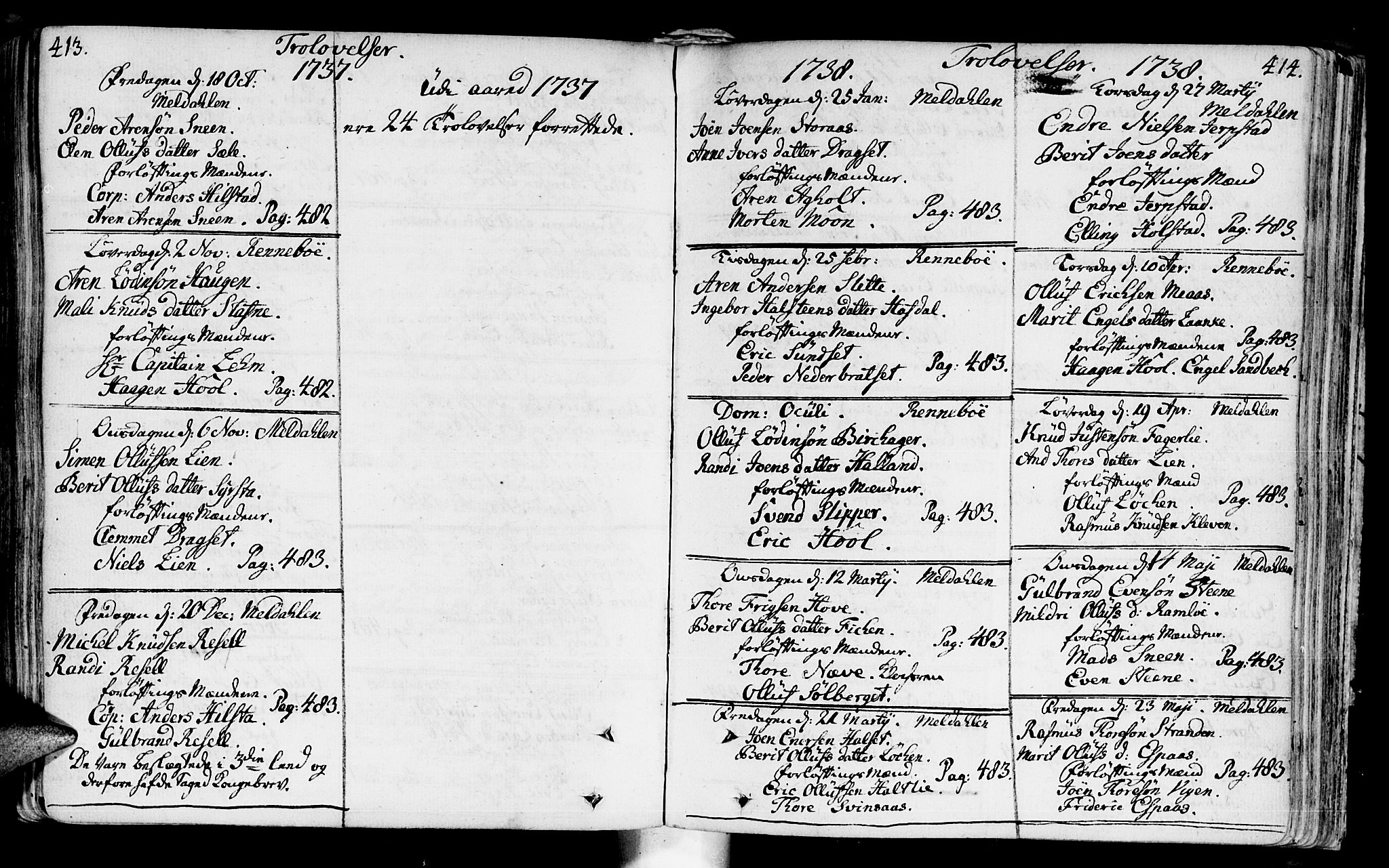 SAT, Ministerialprotokoller, klokkerbøker og fødselsregistre - Sør-Trøndelag, 672/L0850: Ministerialbok nr. 672A03, 1725-1751, s. 413-414