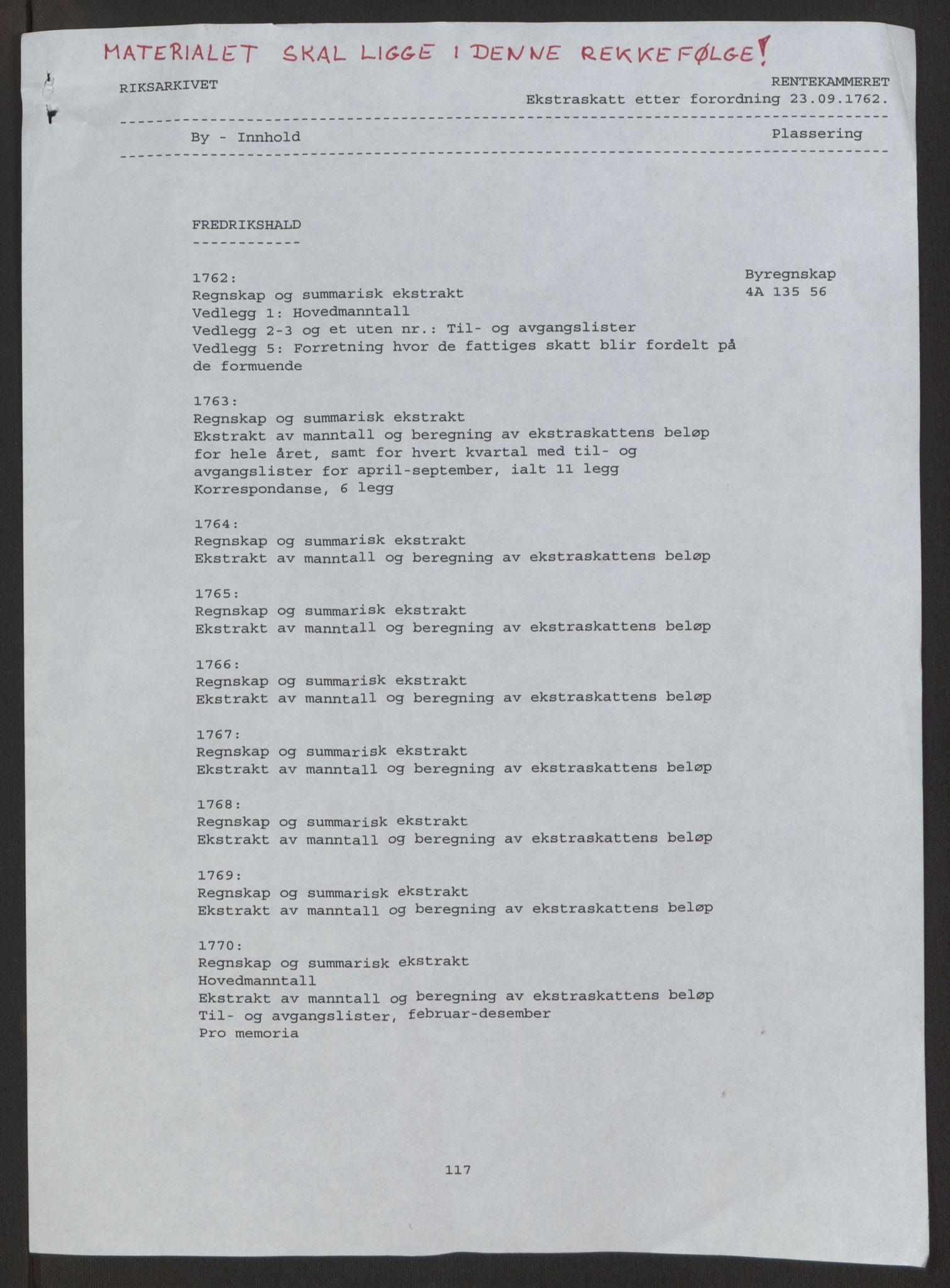 RA, Rentekammeret inntil 1814, Reviderte regnskaper, Byregnskaper, R/Ra/L0006: [A4] Kontribusjonsregnskap, 1762-1772, s. 2