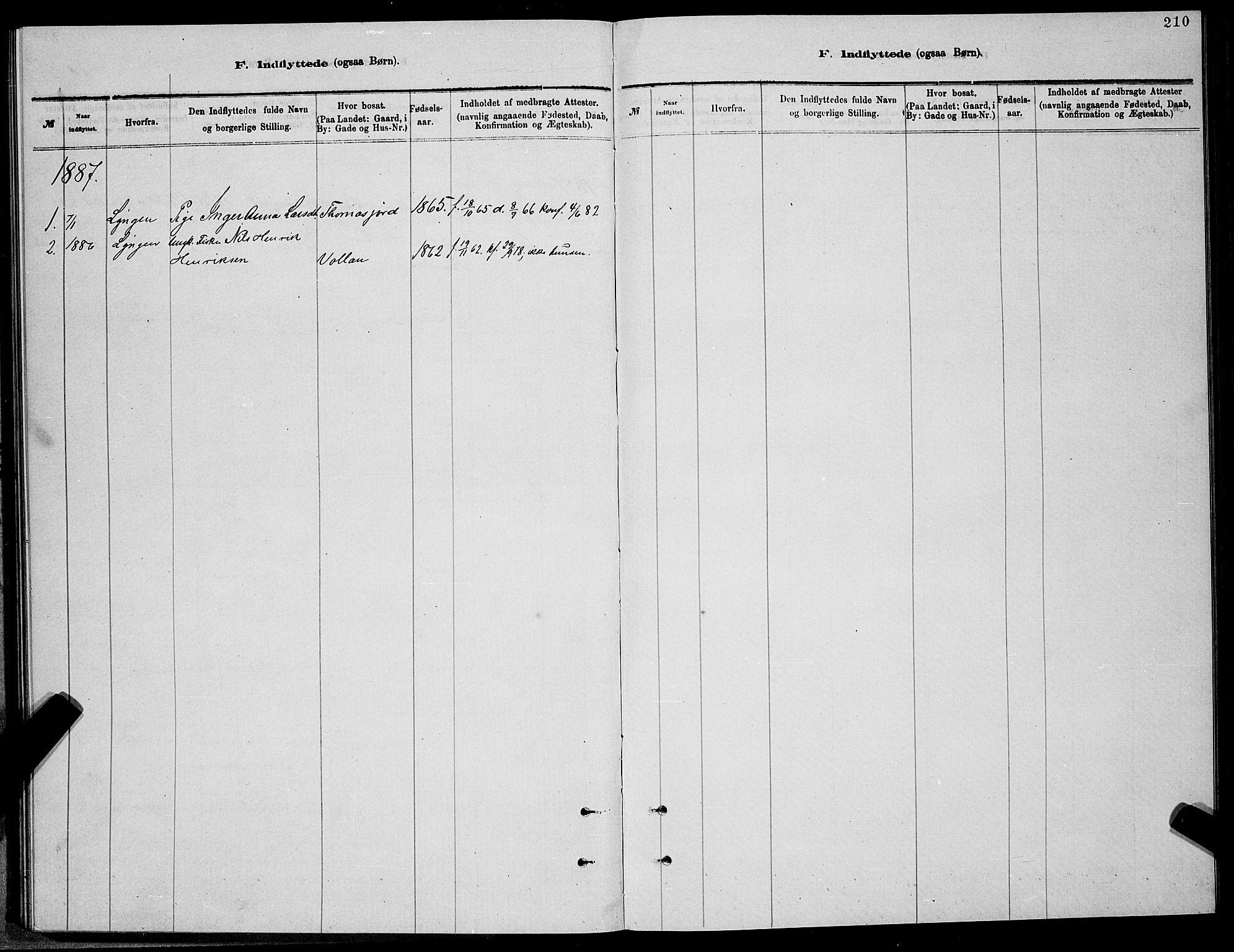 SATØ, Balsfjord sokneprestembete, Klokkerbok nr. 7, 1878-1889, s. 210