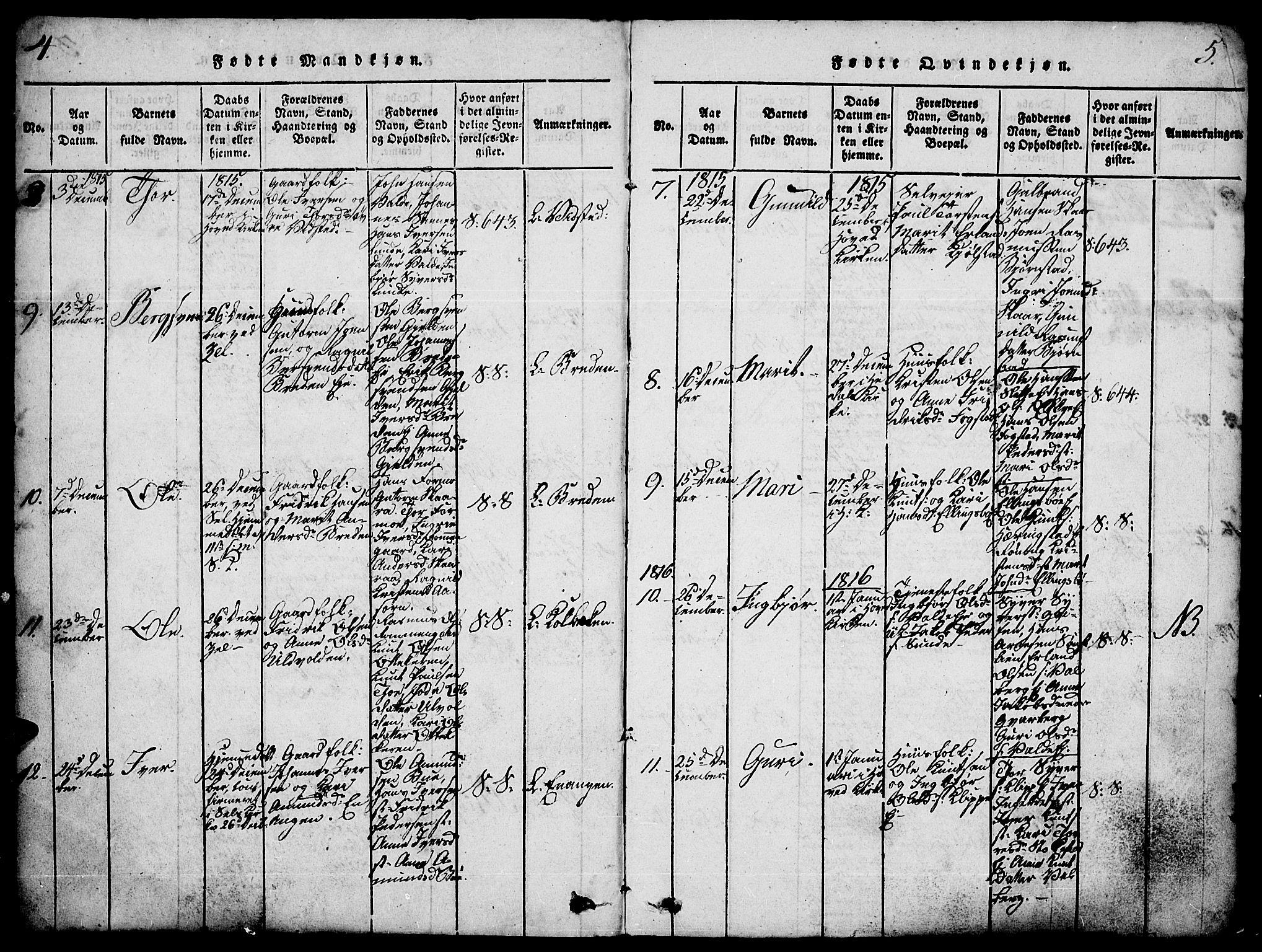SAH, Vågå prestekontor, Ministerialbok nr. 3, 1815-1827, s. 4-5