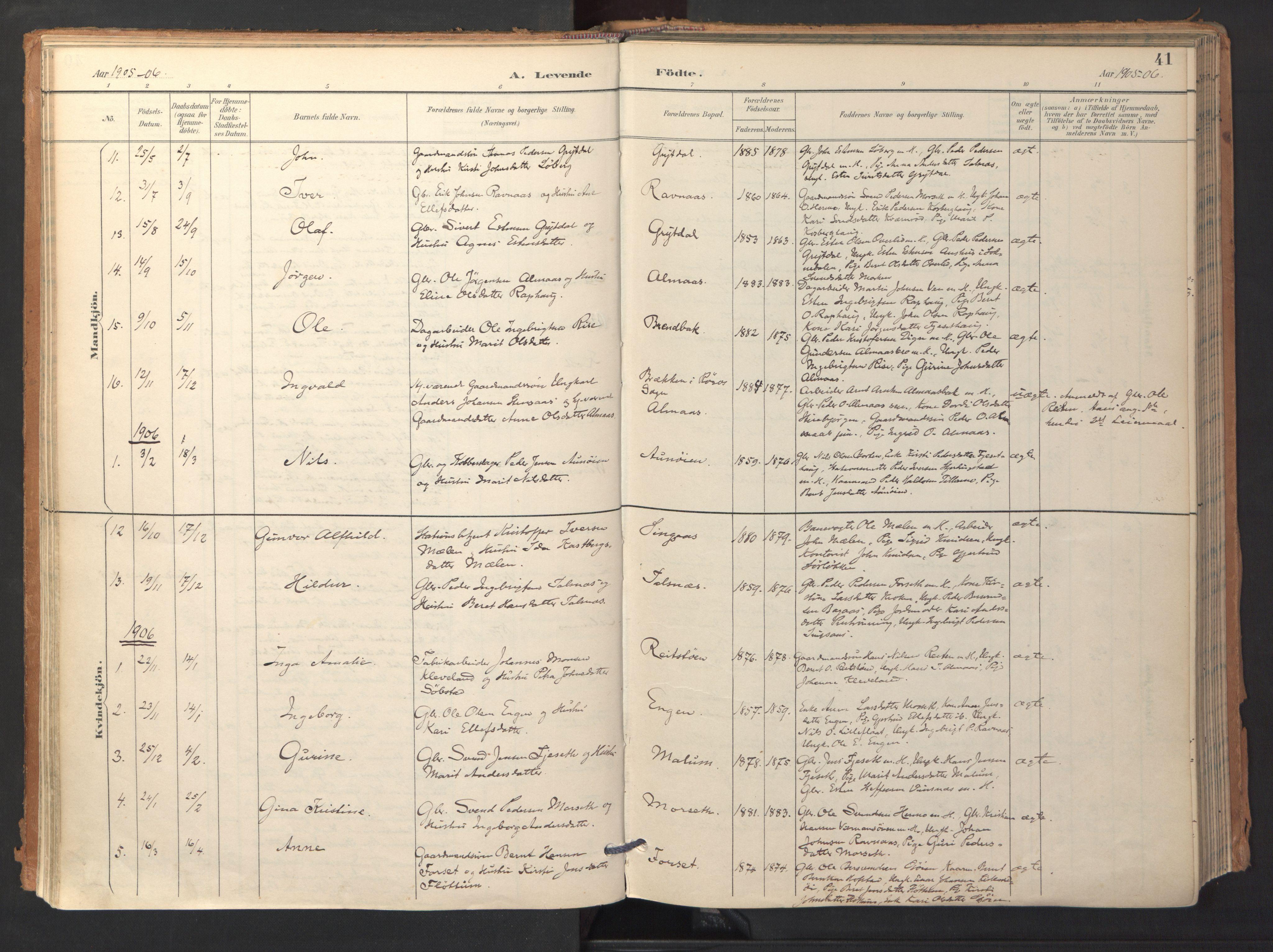 SAT, Ministerialprotokoller, klokkerbøker og fødselsregistre - Sør-Trøndelag, 688/L1025: Ministerialbok nr. 688A02, 1891-1909, s. 41